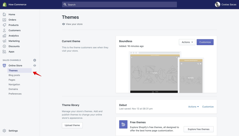Shopify theme panel