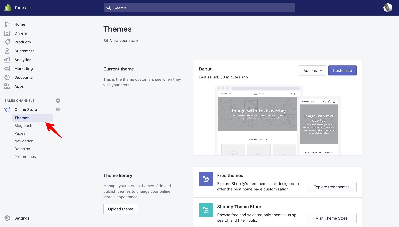 Shopify theme panel.
