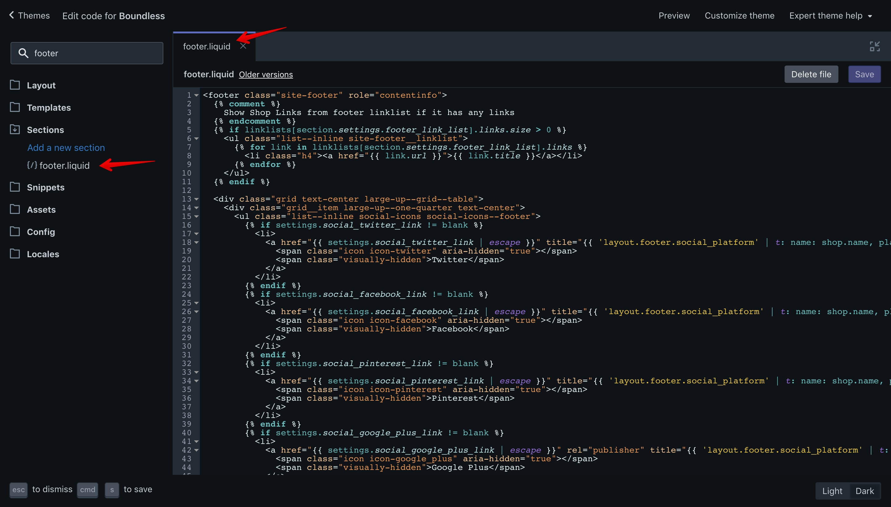 """Boundless theme """"footer.liquid"""" file opened in the code editor"""