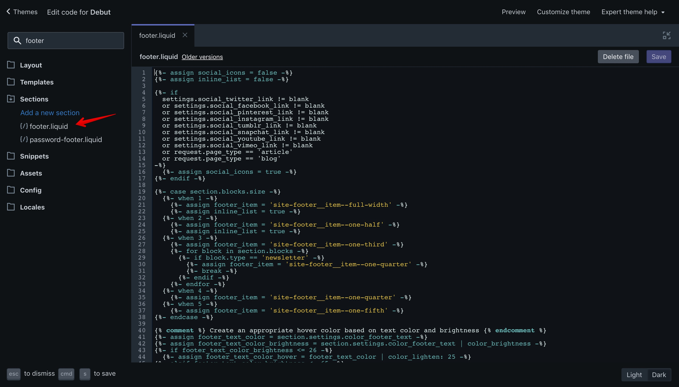 """Debut theme """"footer.liquid"""" file opened in the code editor."""