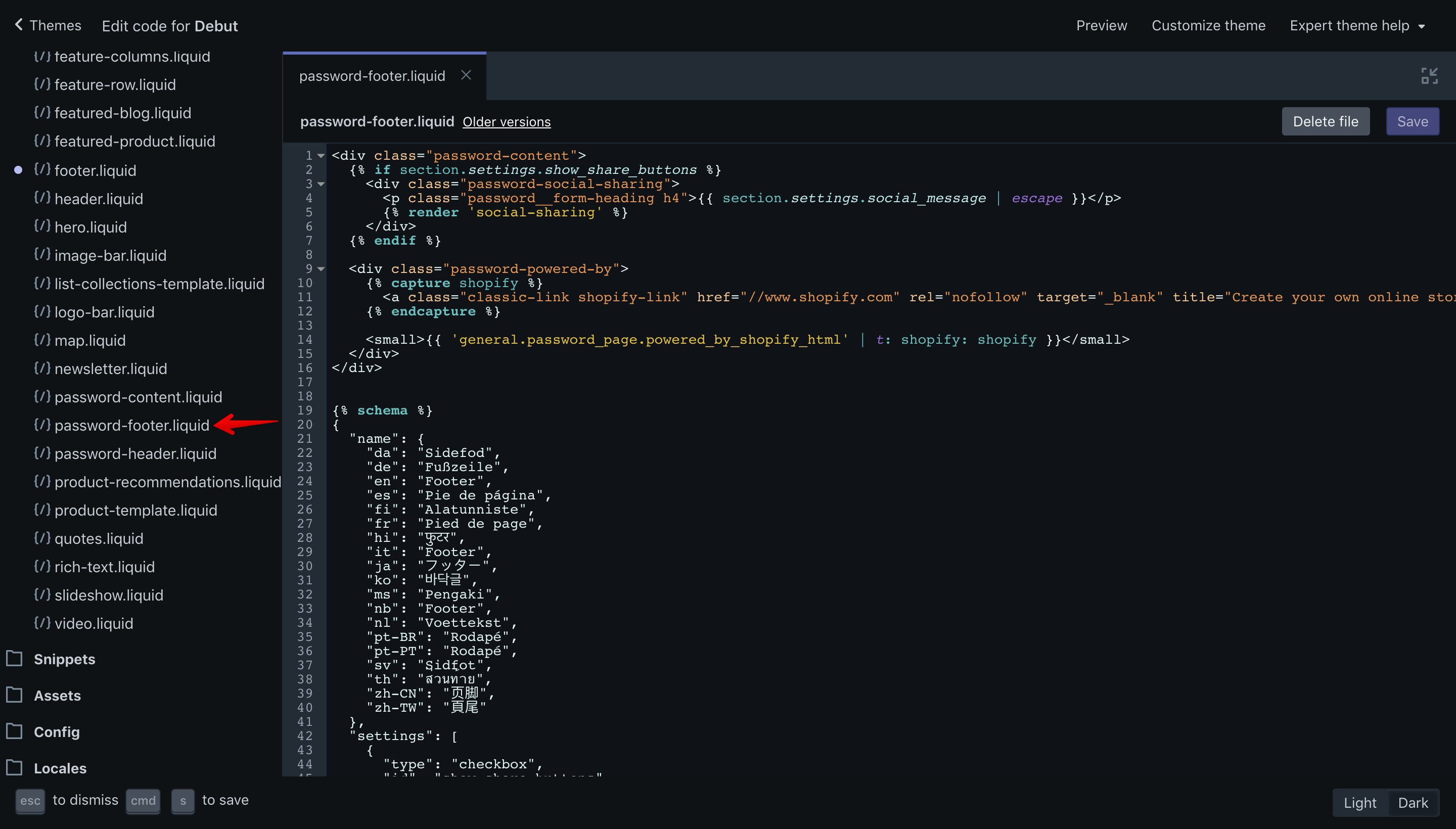 """Debut theme """"password-footer.liquid"""" file opened in the code editor"""
