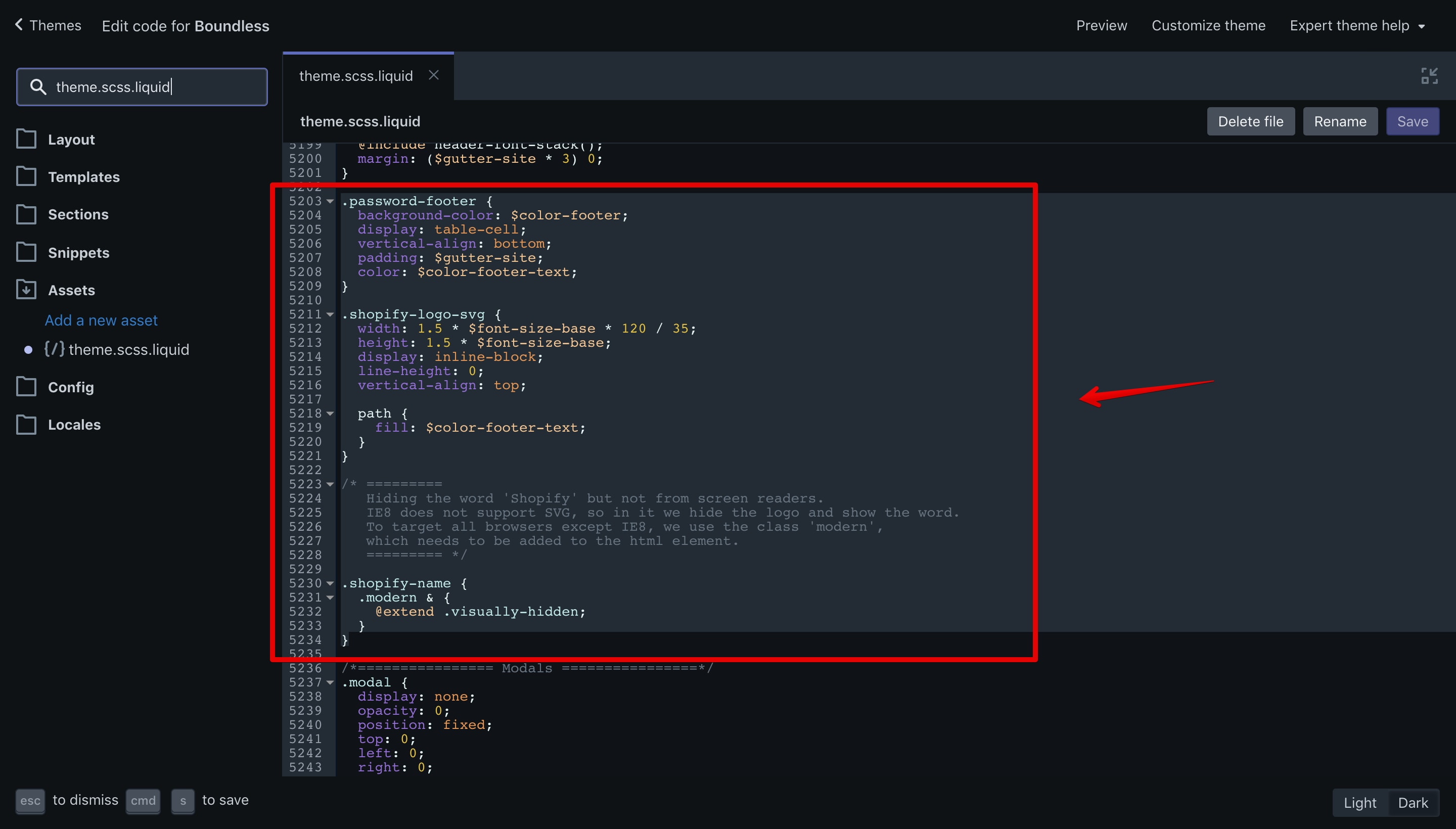 CSS code that has to be removed in the Boundless theme.