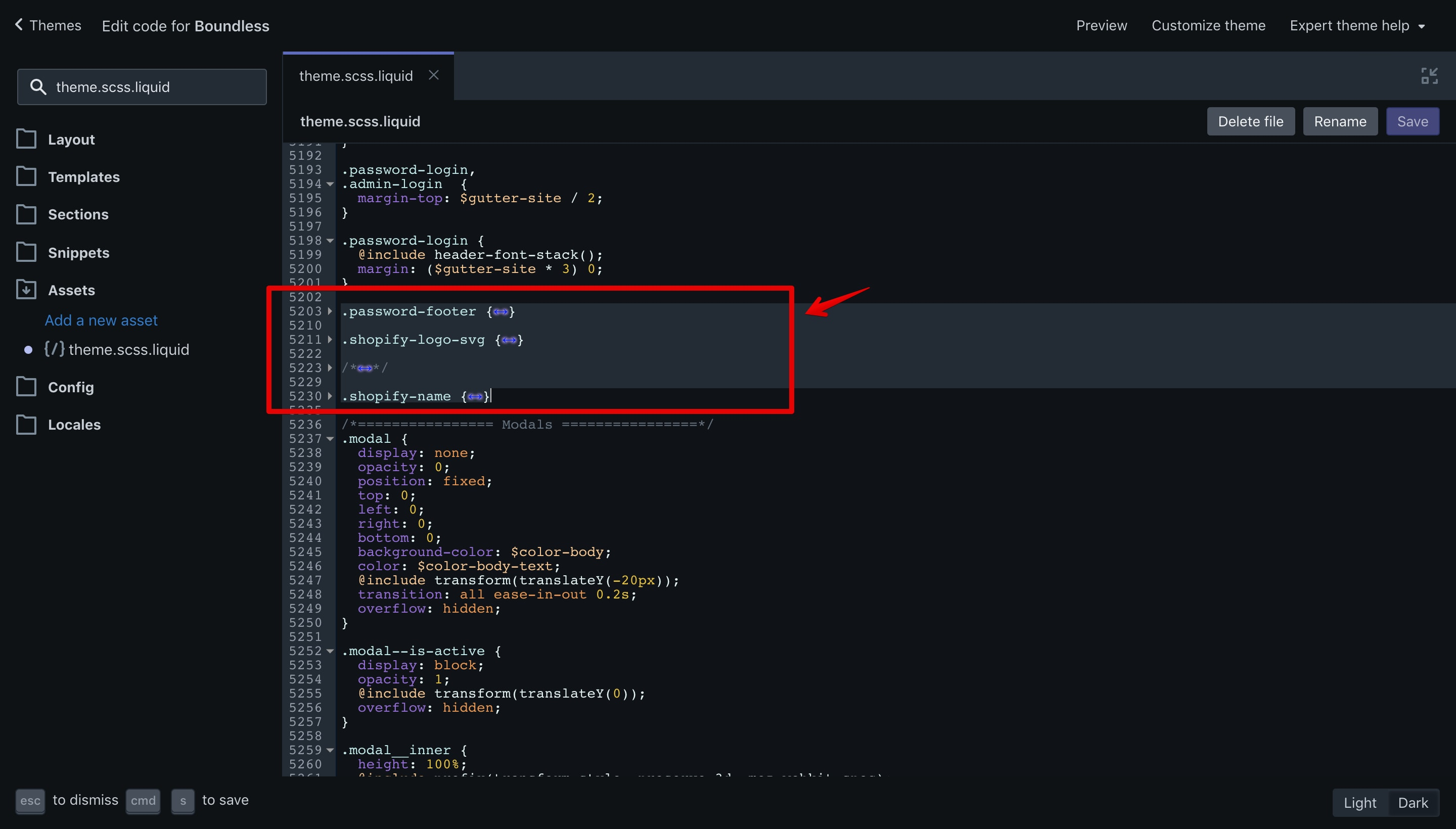 Folded CSS code that has to be removed in the Boundless theme.