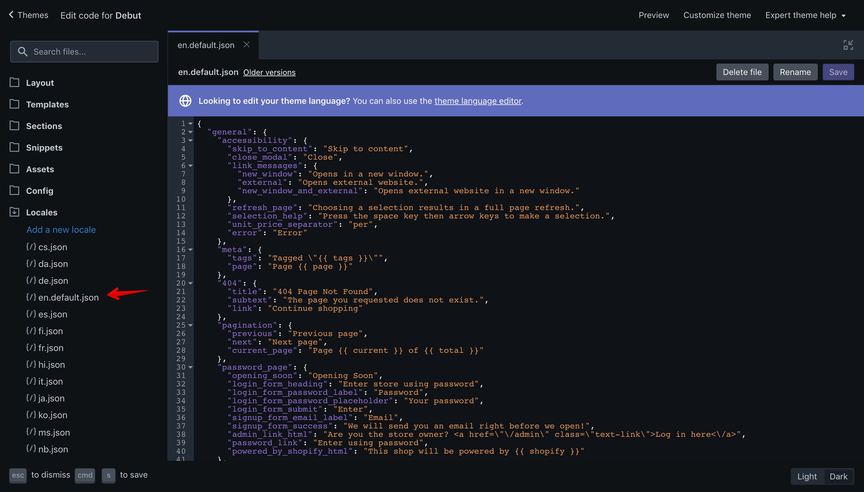 """Debut theme """"en.default.json"""" file opened in the code editor."""