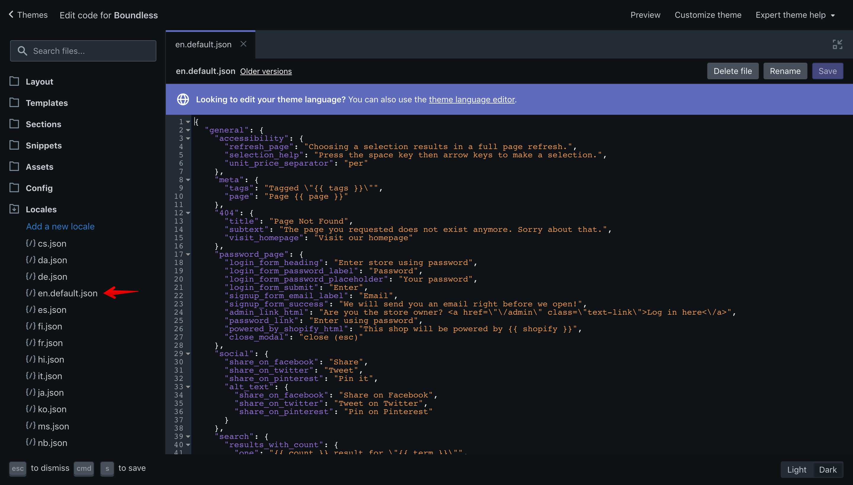 """Boundless theme """"en.default.json"""" file opened in the code editor."""