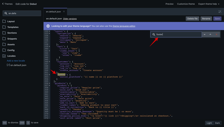 """Debut theme """"footer"""" translation key in the """"en.default.json"""" file."""