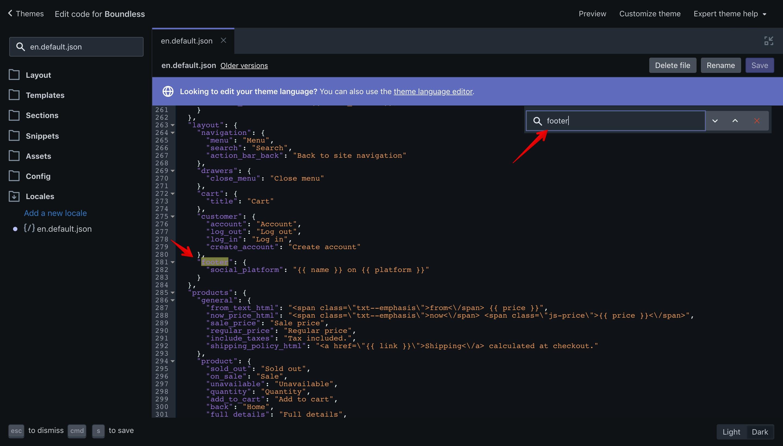 """Boundless theme """"footer"""" translation key in the """"en.default.json"""" file."""