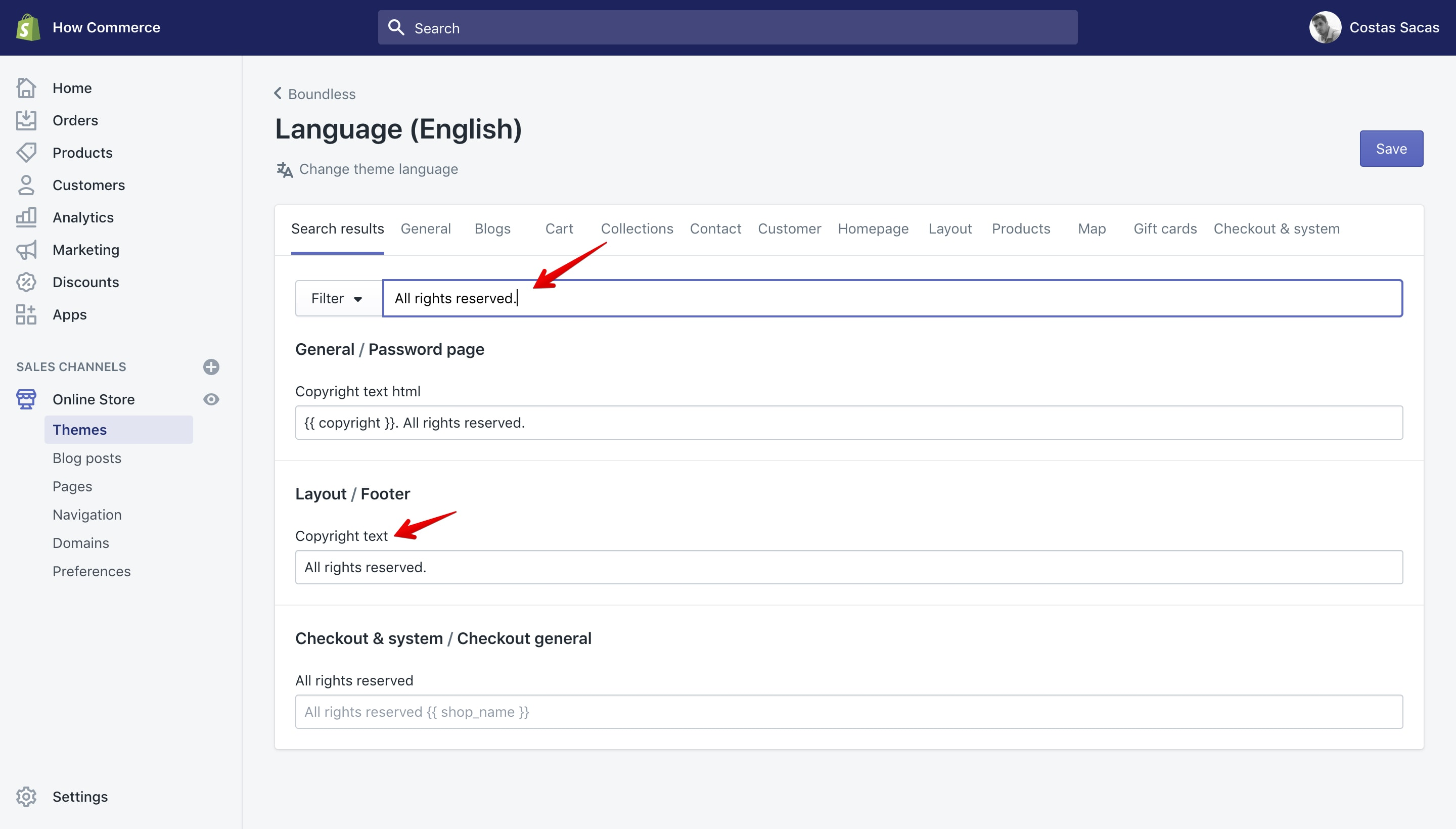 """Boundless theme new copyright text in """"Language"""" panel."""