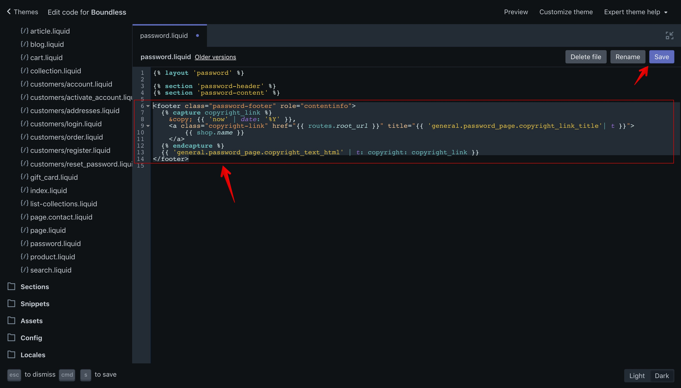 Boundless theme copyright code selection in the code editor.