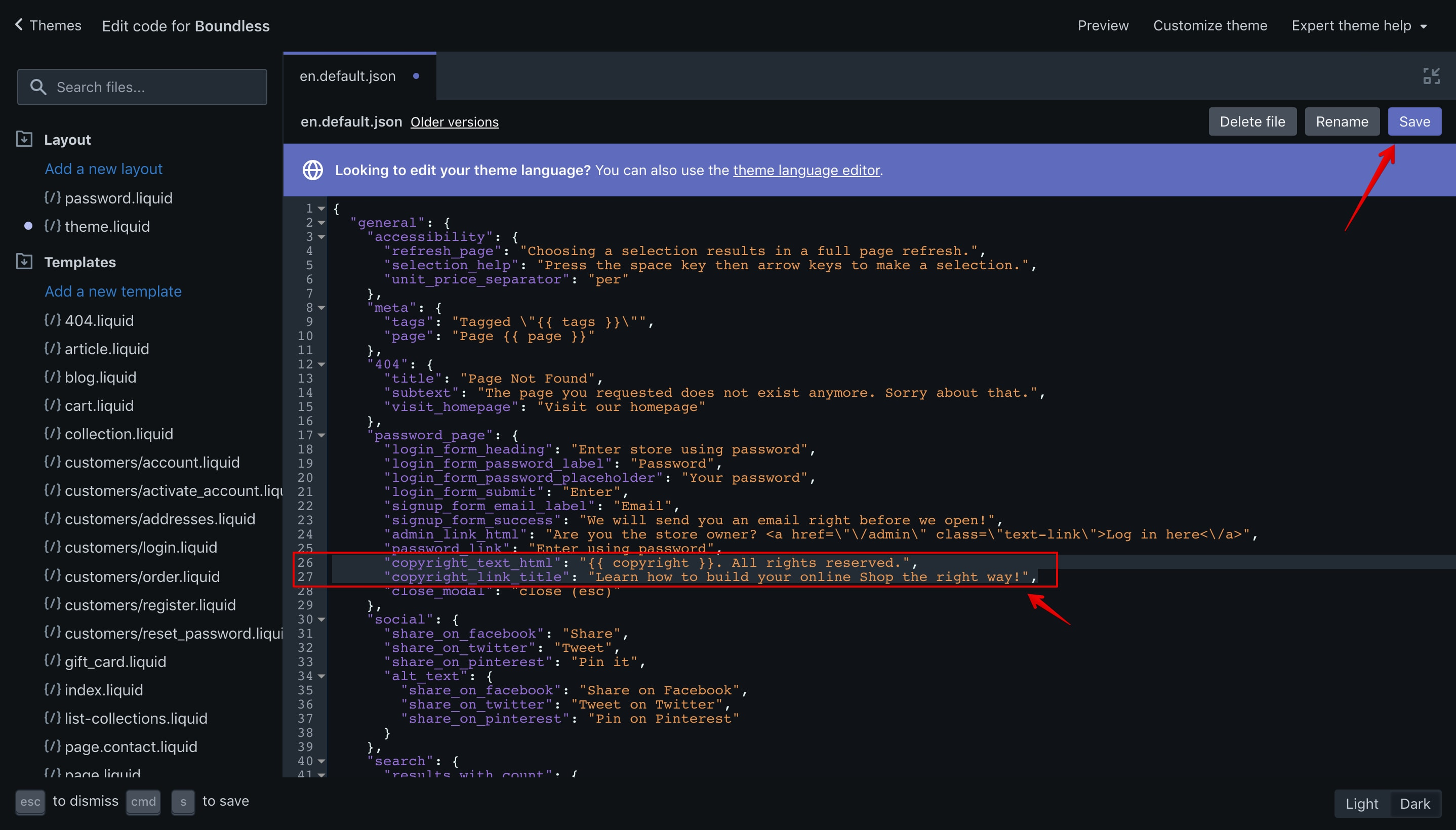 Boundless theme offline page copyright new code in the code editor.