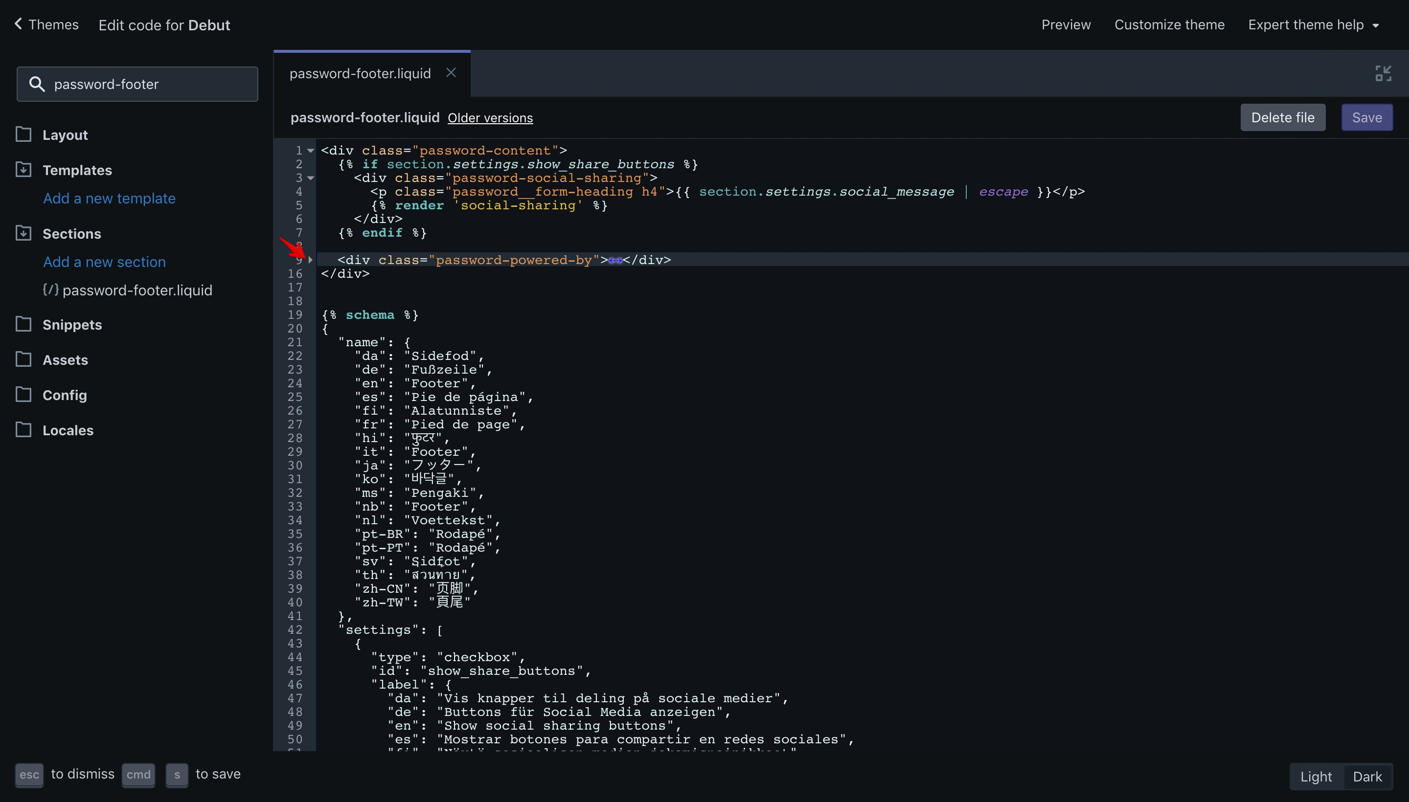 Debut theme copyright code selection in the code editor.