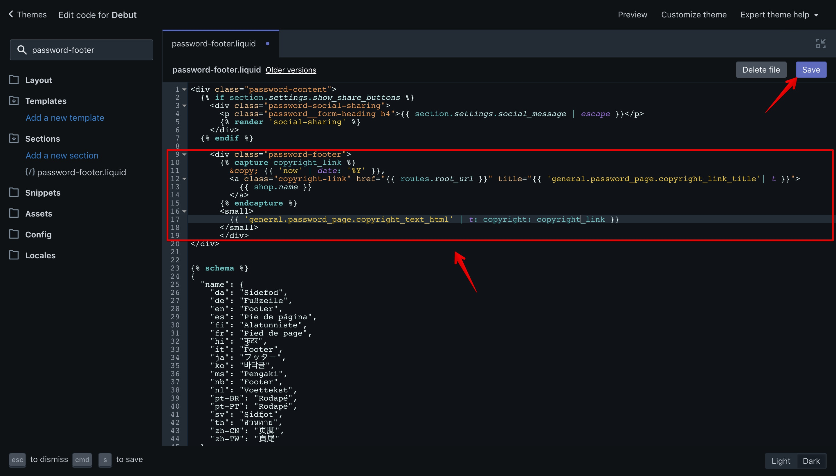 Debut theme offline page copyright new code in the code editor.