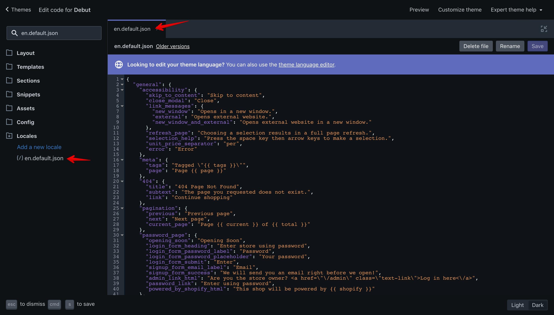 """Debut theme """"en.default.json"""" language file."""