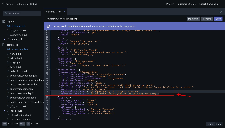 "Debut theme ""en.default.json"" language file with the new translation keys."