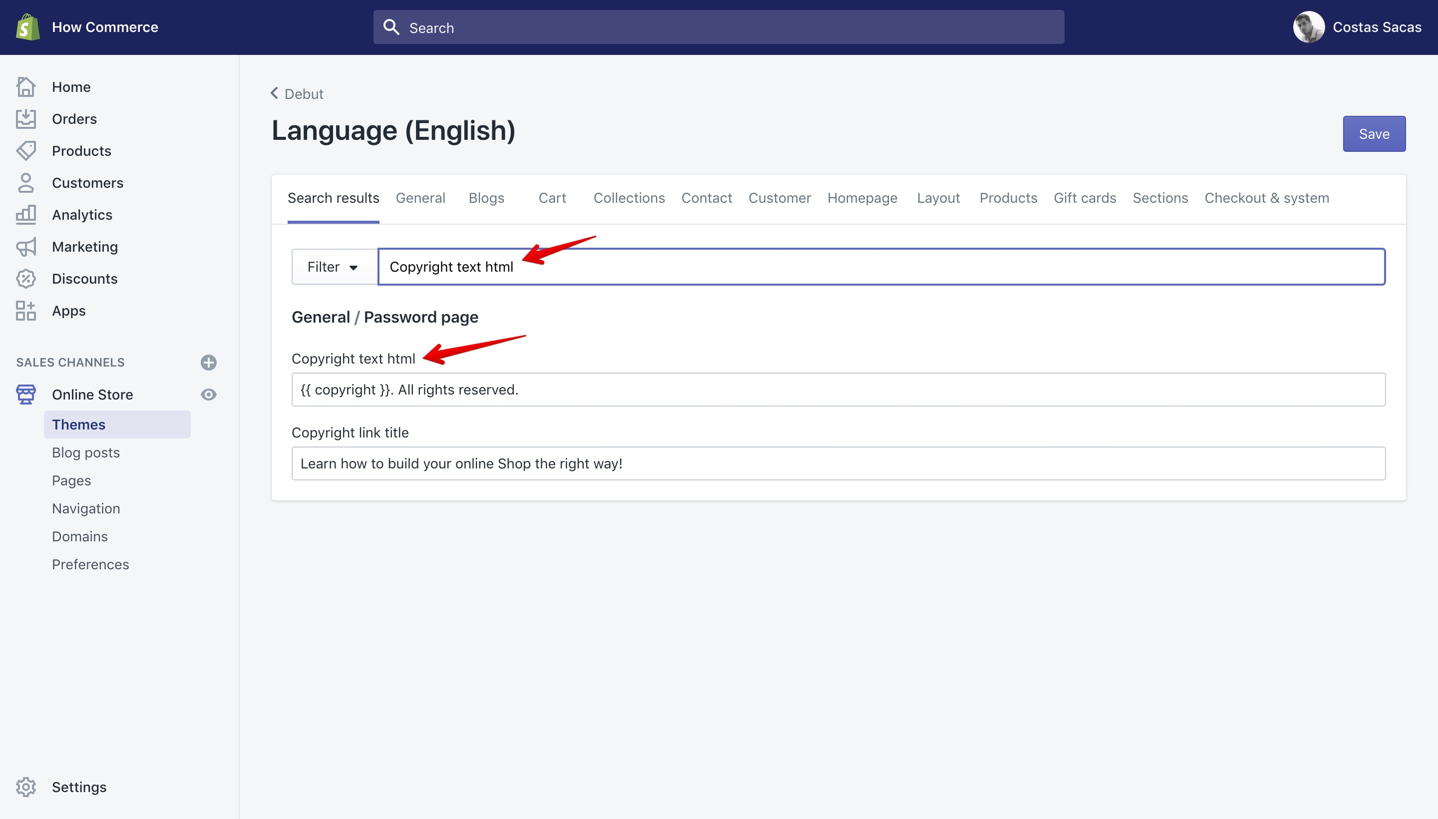 """Debut theme """"Copyright text html"""" translation key in the """"Language"""" panel."""