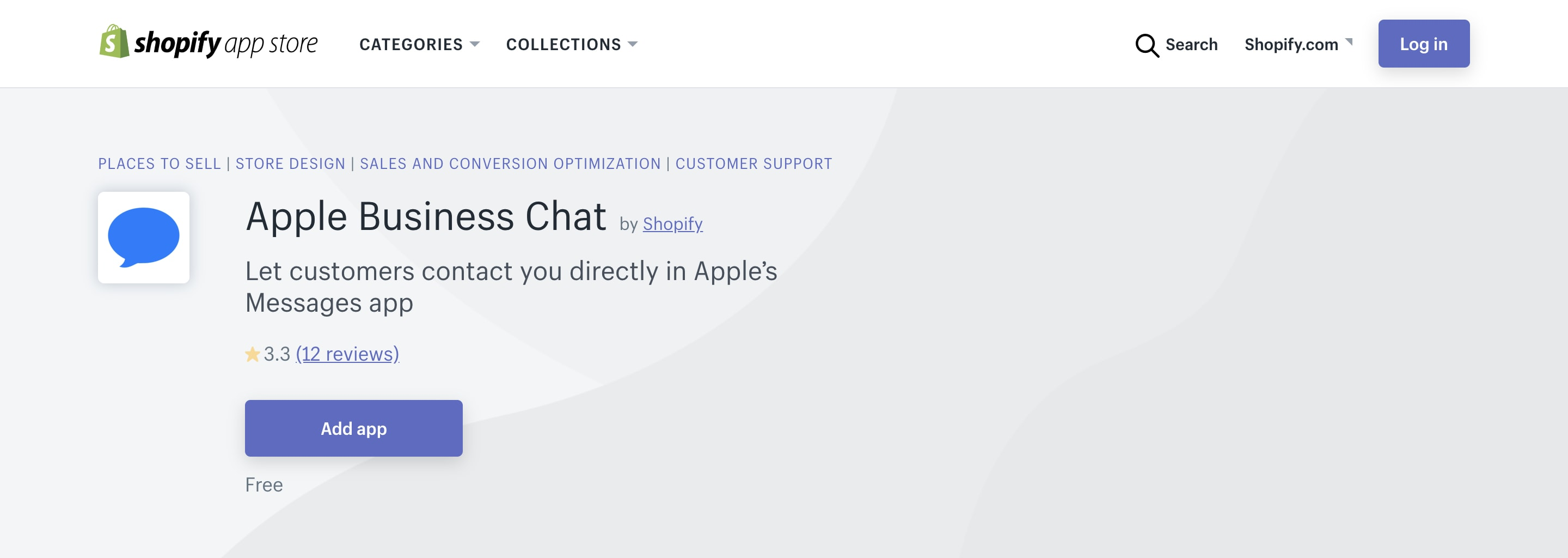 Shopify Apple Business Chat channel.
