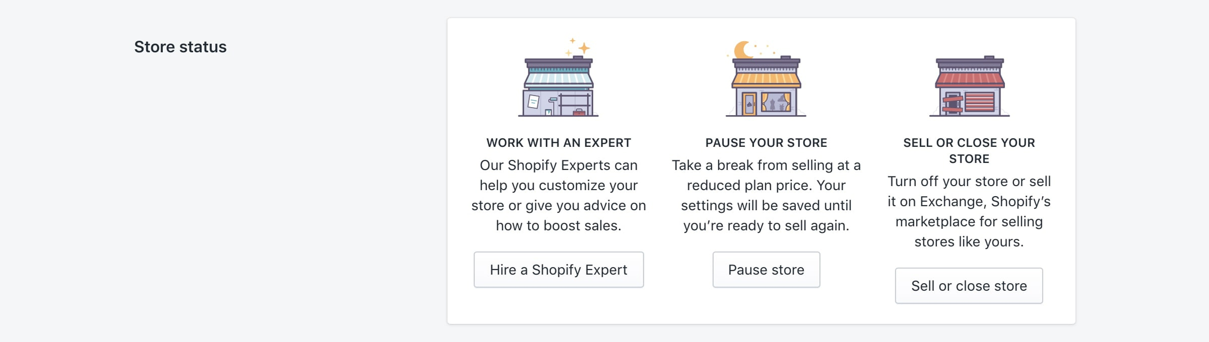 Shopify pause and close store options.