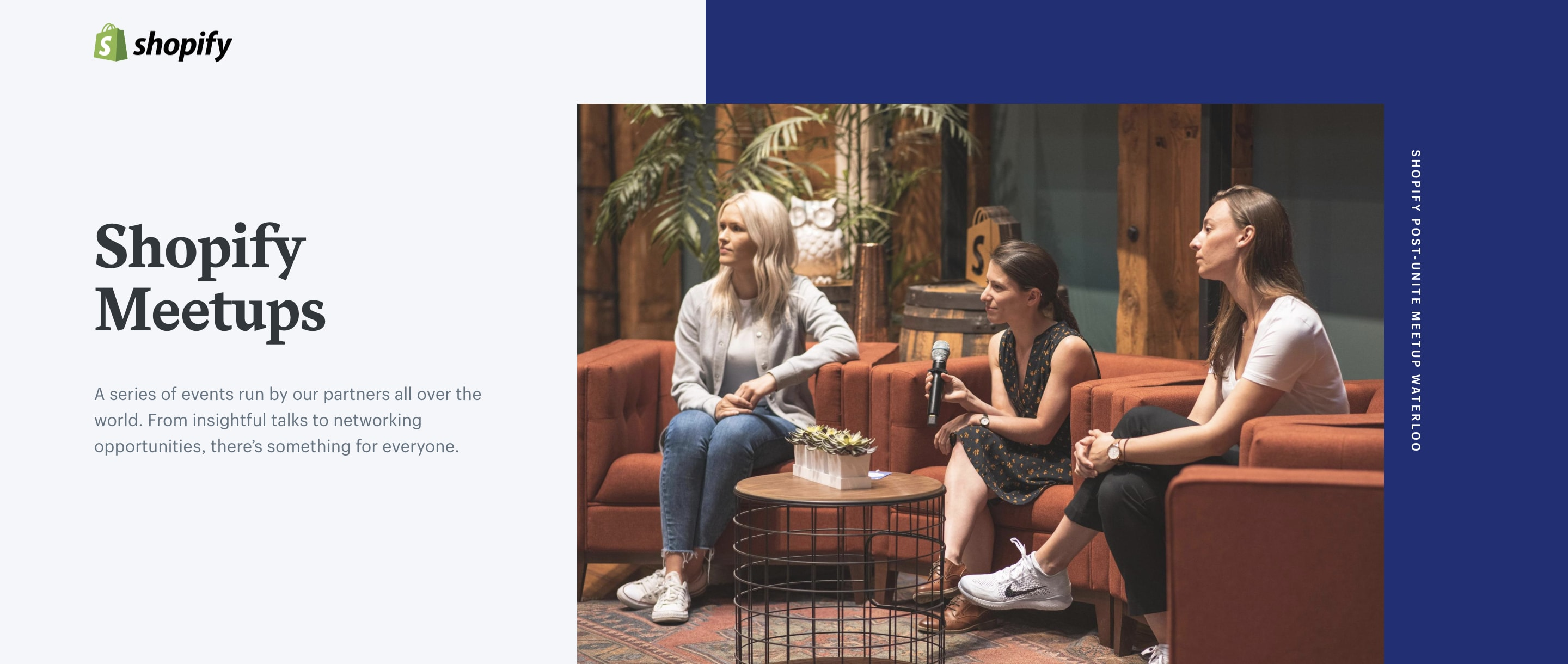 Screenshot from Shopify Meetups website