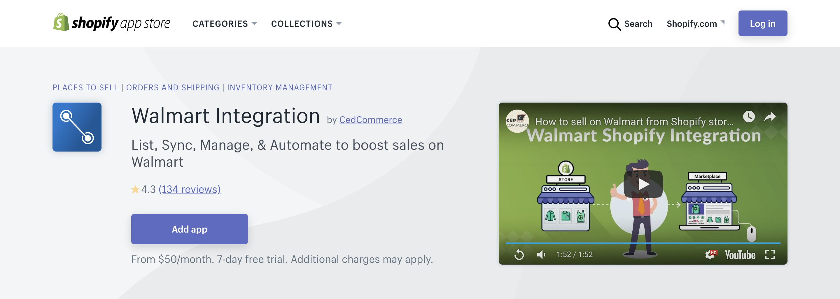 Shopify Walmart channel.