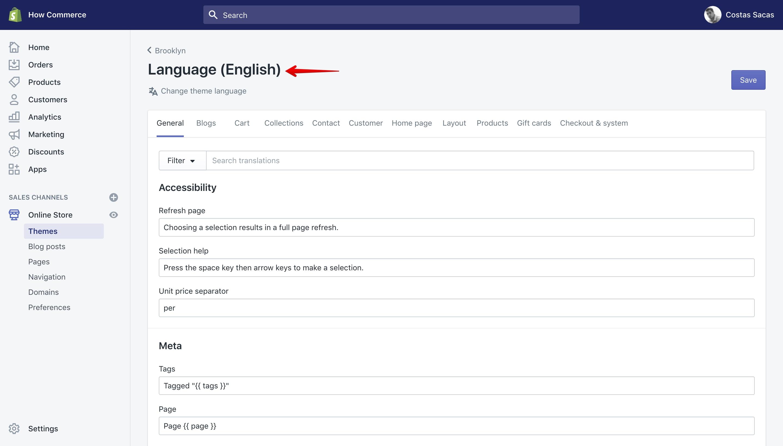 "Shopify ""Edit Languages"" page. Displays the English language."