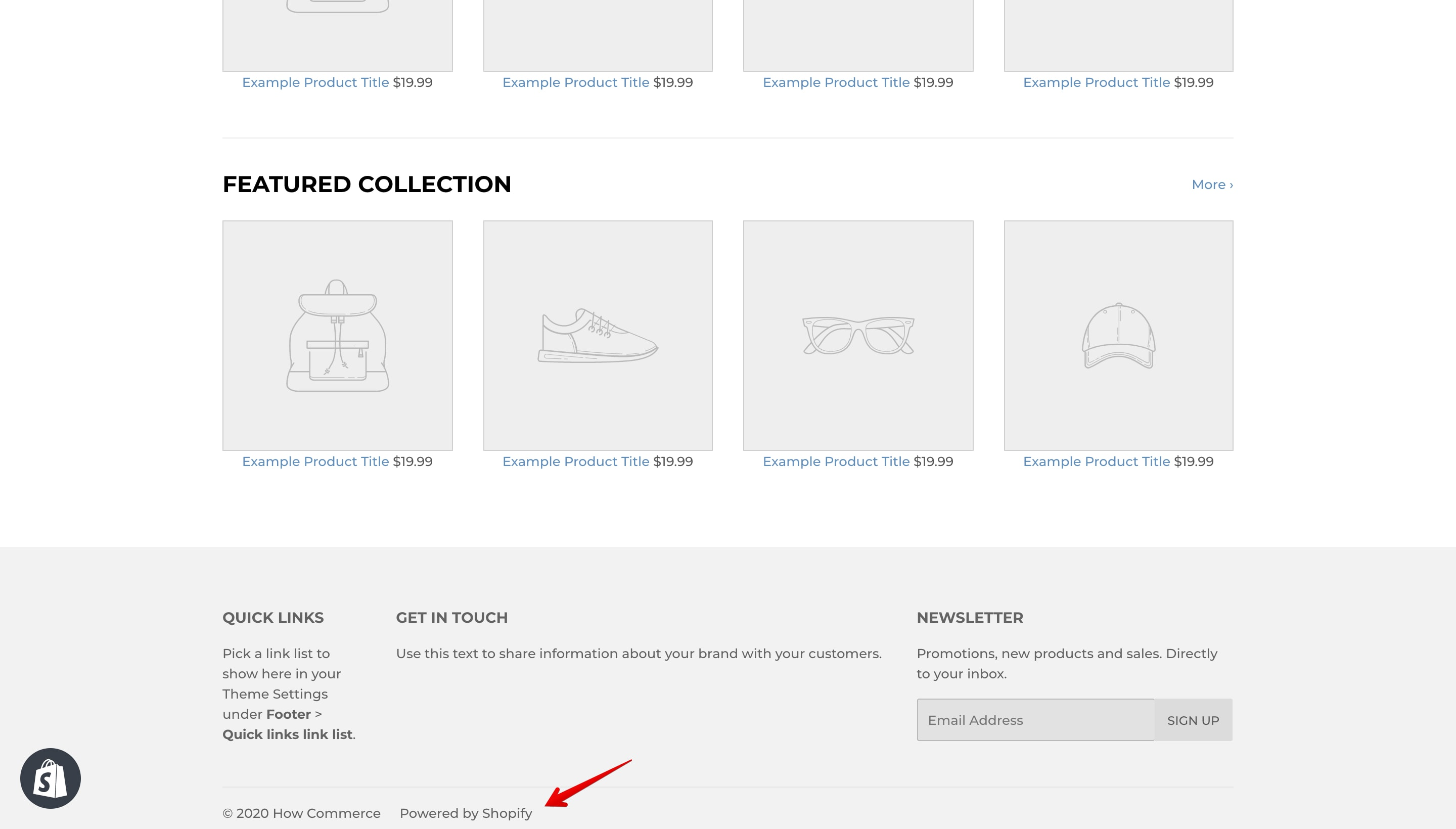 """Supply theme """"Powered by Shopify"""" copyright."""