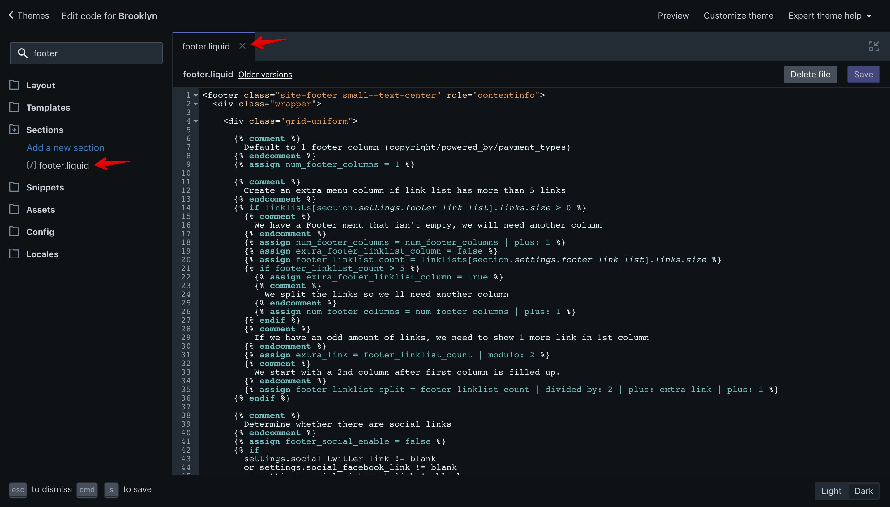 """Brooklyn theme """"footer.liquid"""" file opened in the code editor."""