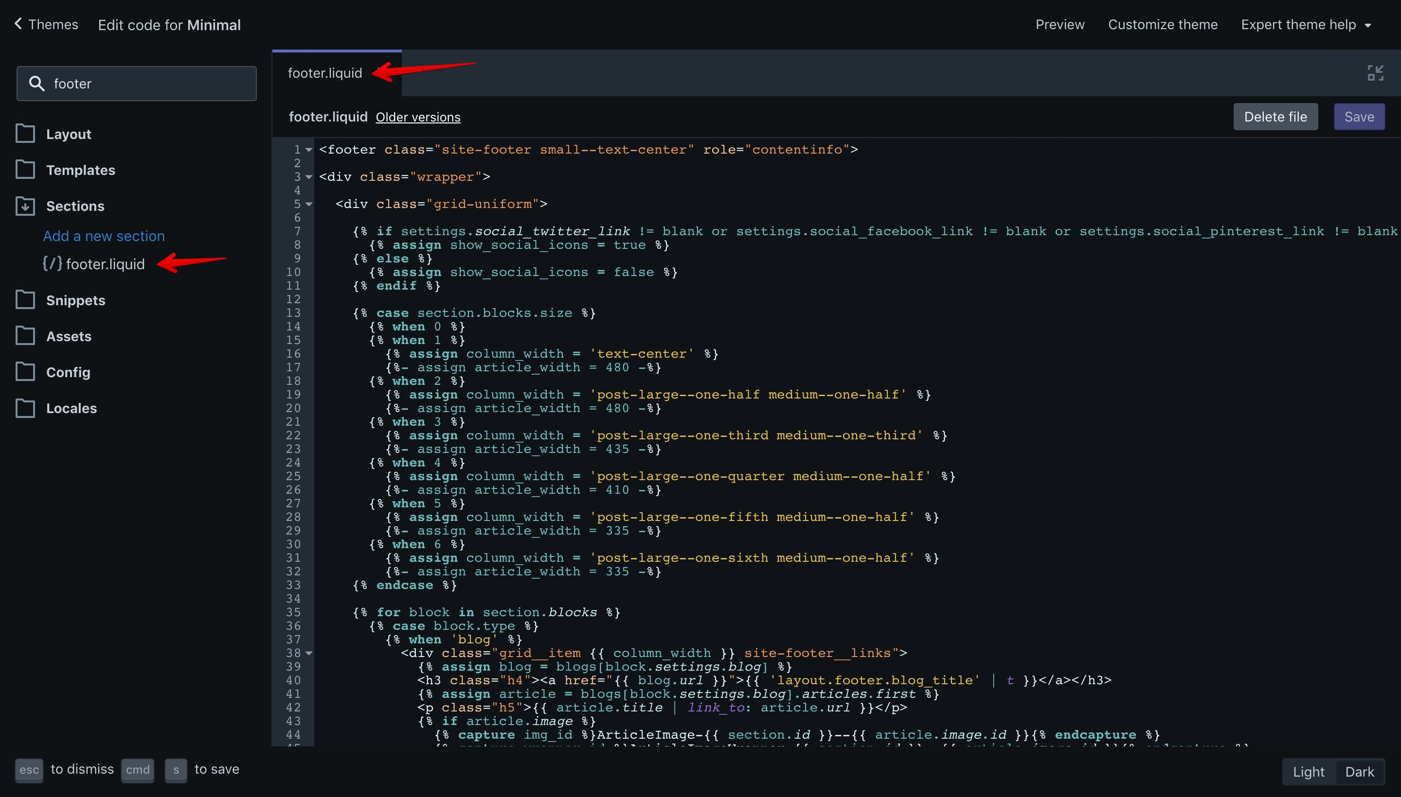 """Minimal theme """"footer.liquid"""" file opened in the code editor."""