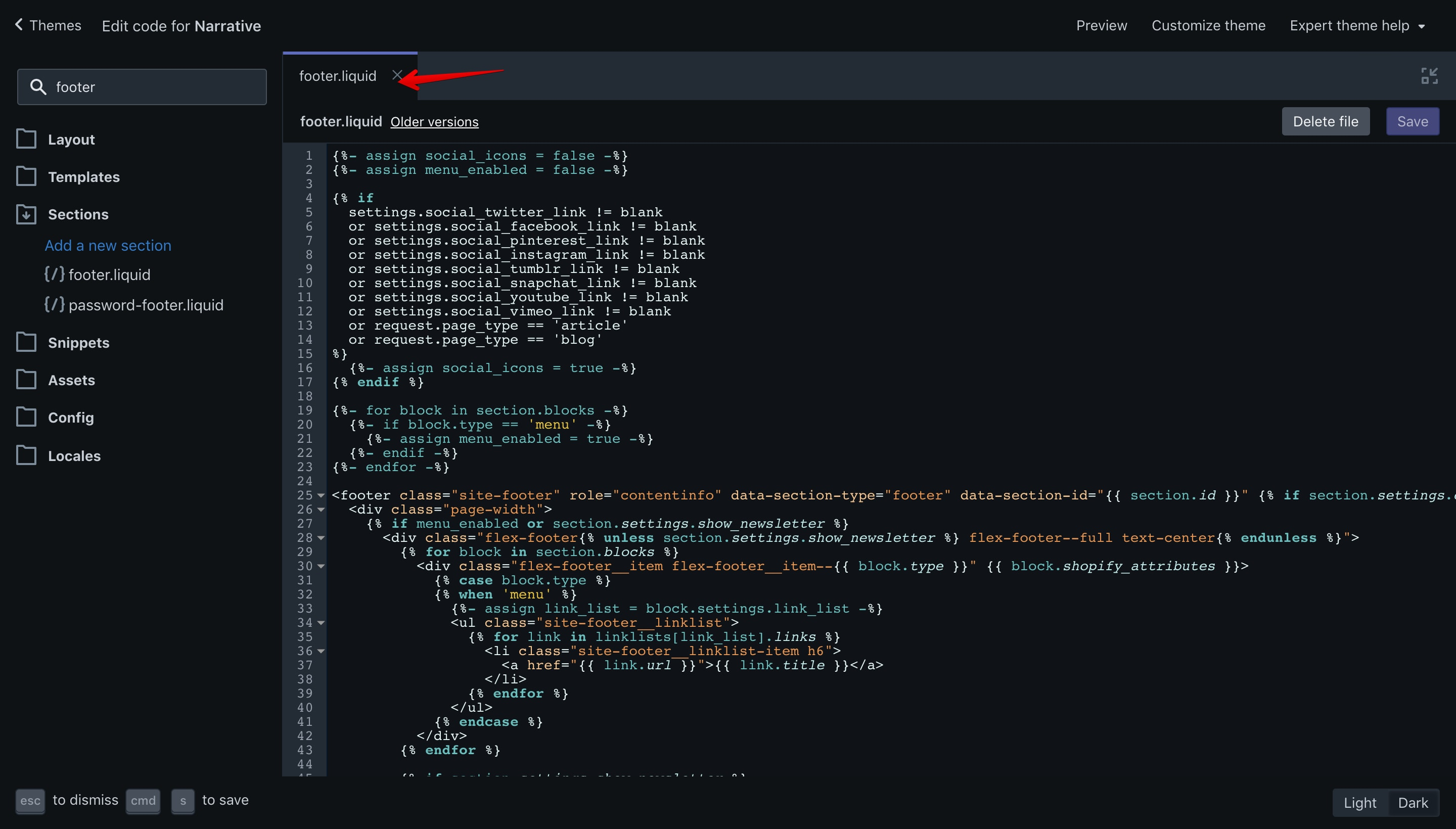 """Narrative theme """"footer.liquid"""" file opened in the code editor."""