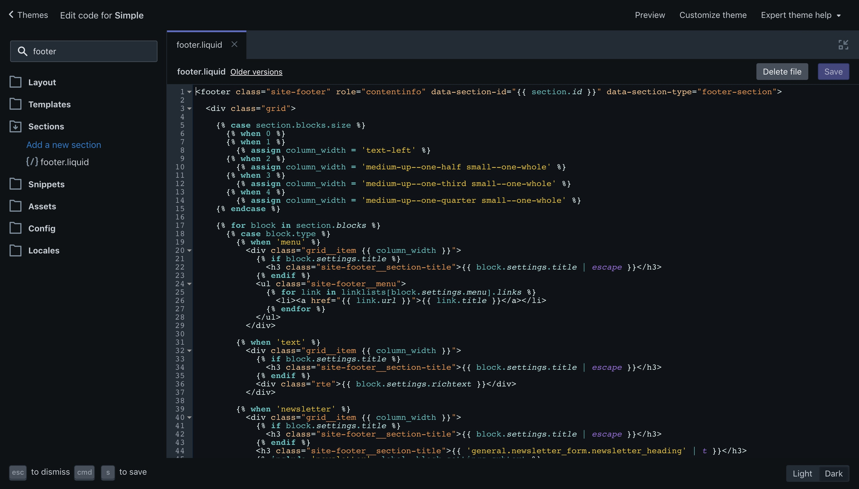 """Simple theme """"footer.liquid"""" file opened in the code editor."""