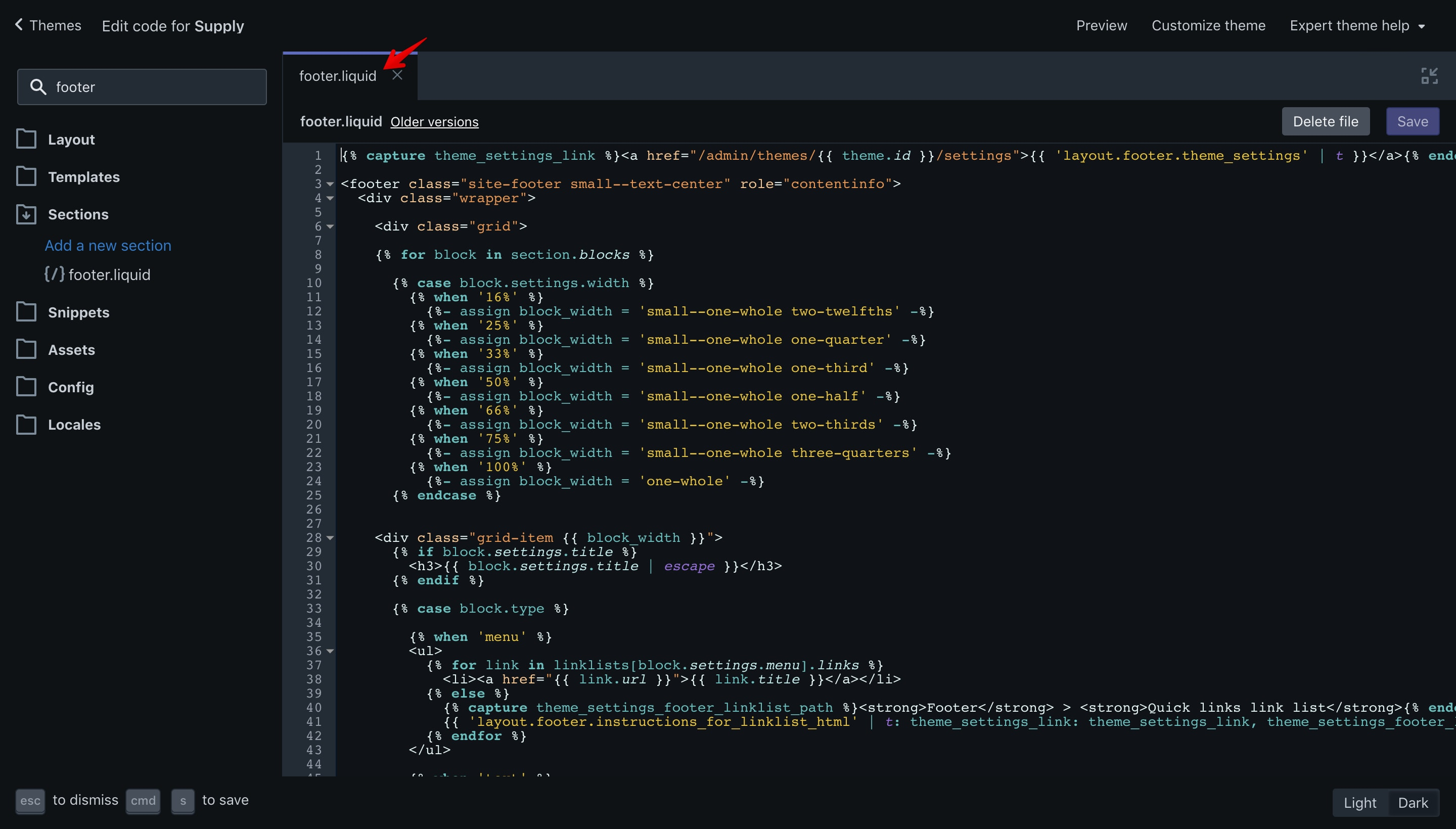 """Supply theme """"footer.liquid"""" file opened in the code editor."""