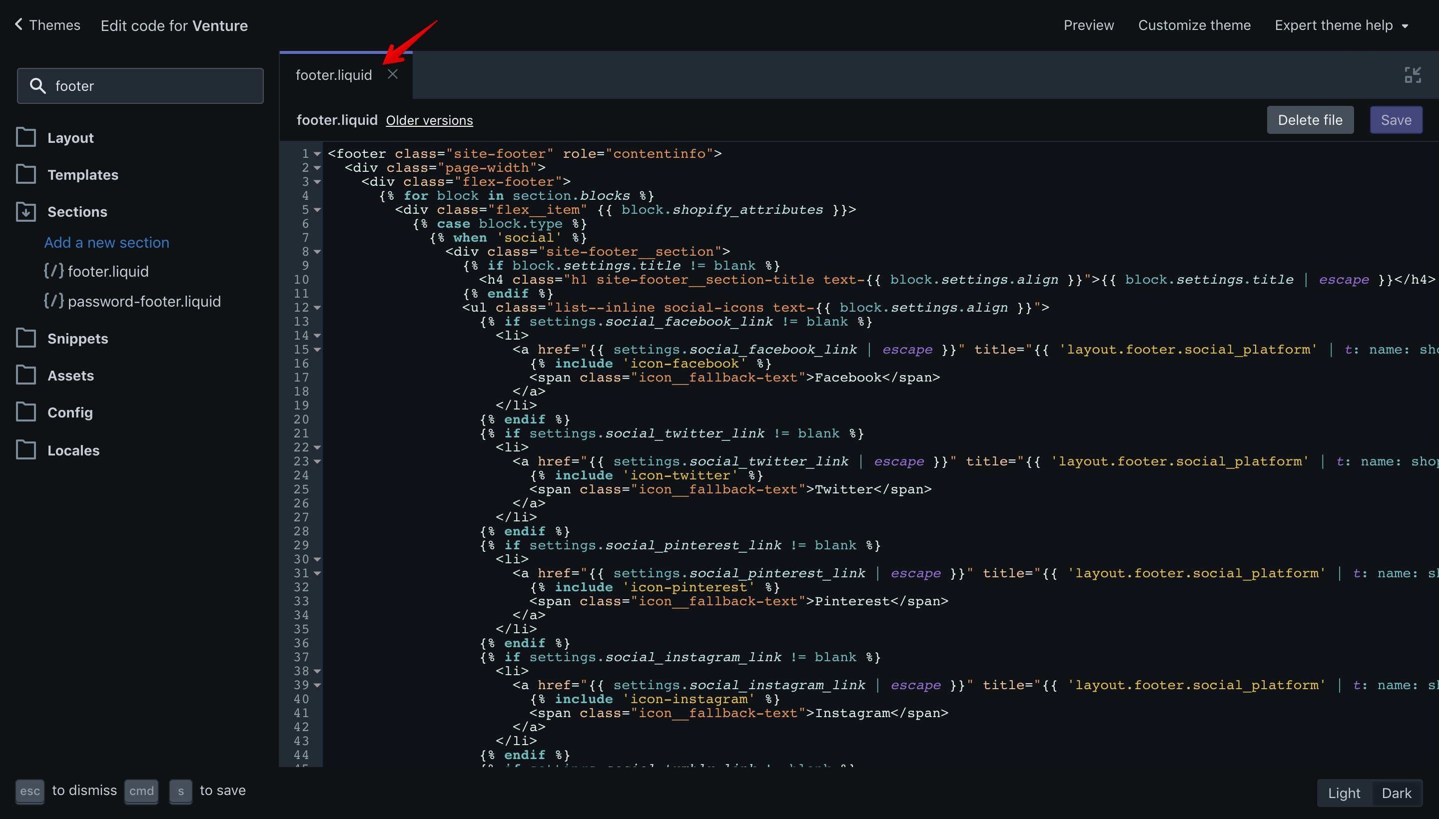 """Venture theme """"footer.liquid"""" file opened in the code editor."""