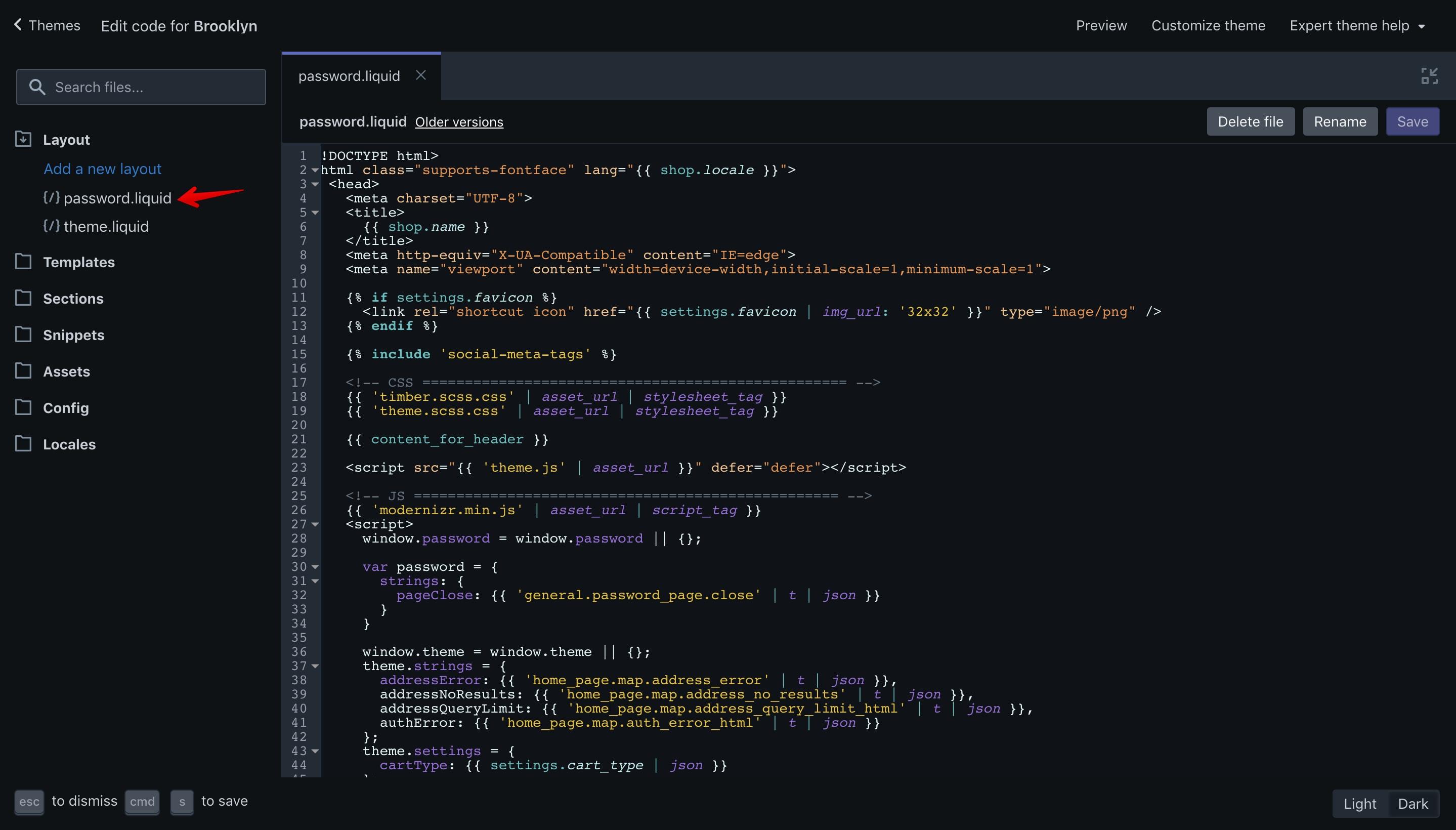 "Brooklyn theme ""password.liquid"" file opened in the code editor."