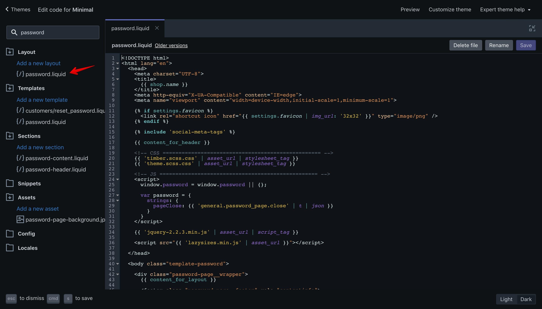 "Minimal theme ""password.liquid"" file opened in the code editor."