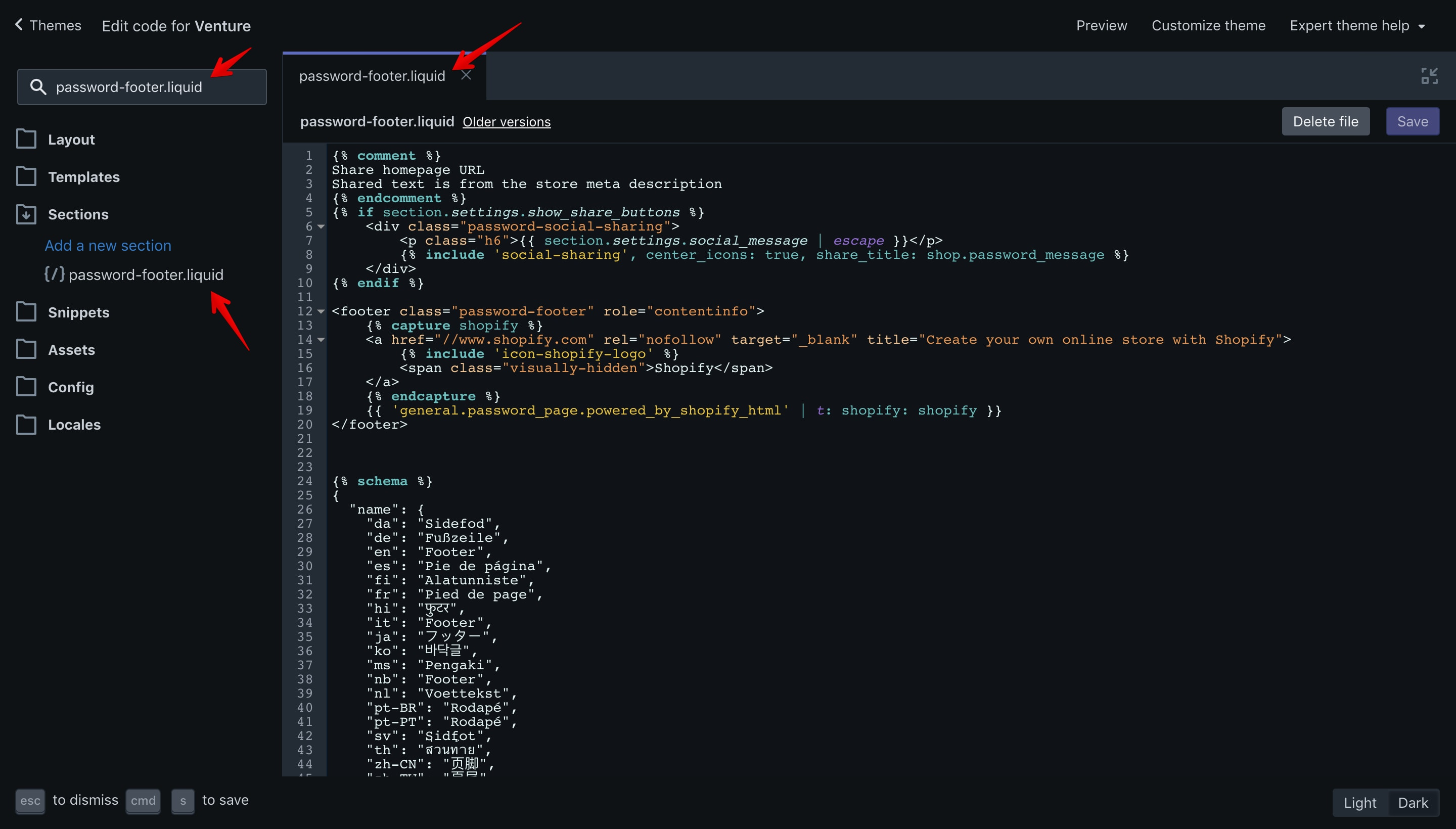 """Venture theme """"password-footer.liquid"""" file opened in the code editor."""