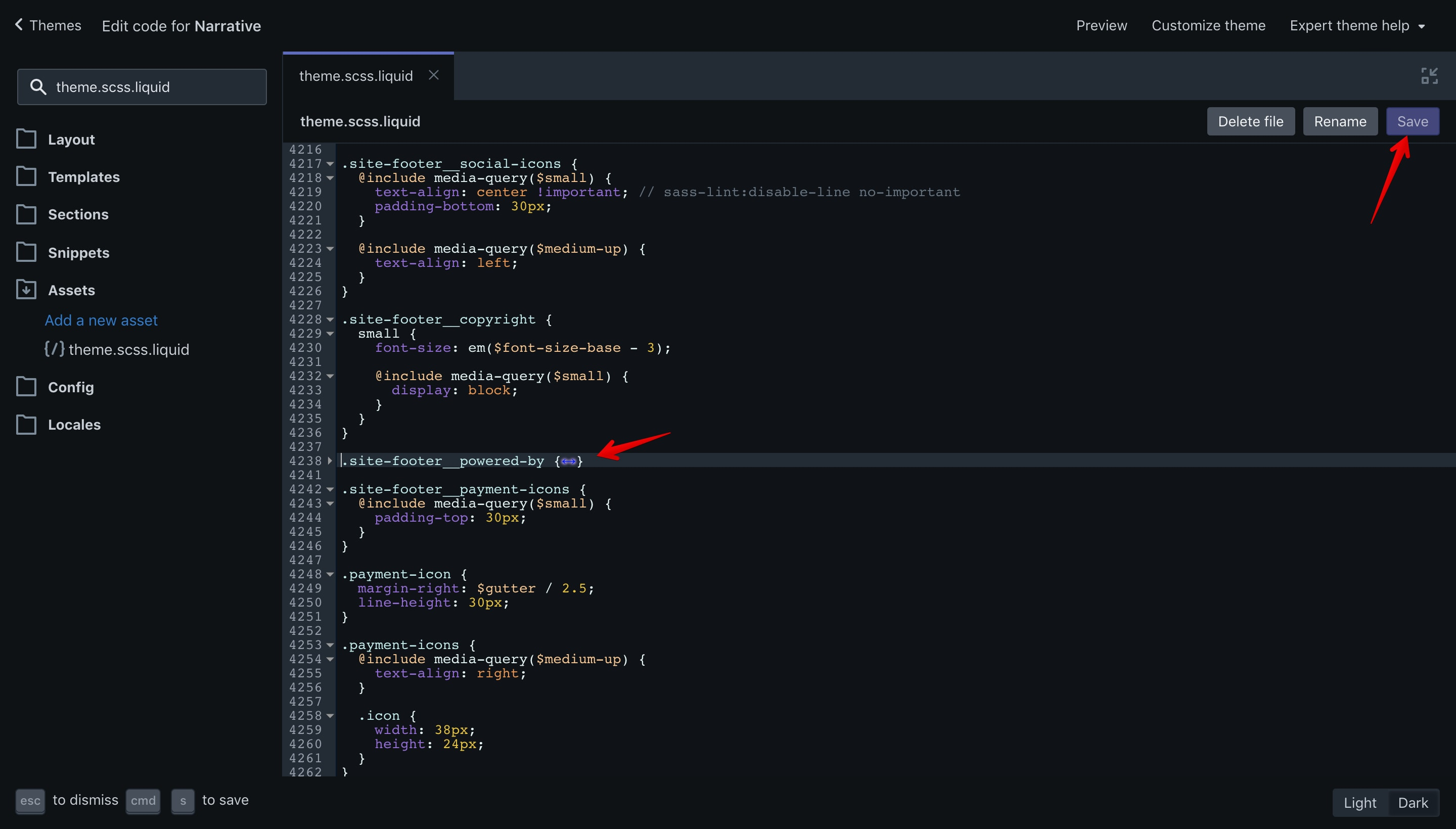 Narrative CSS code removal and save button.
