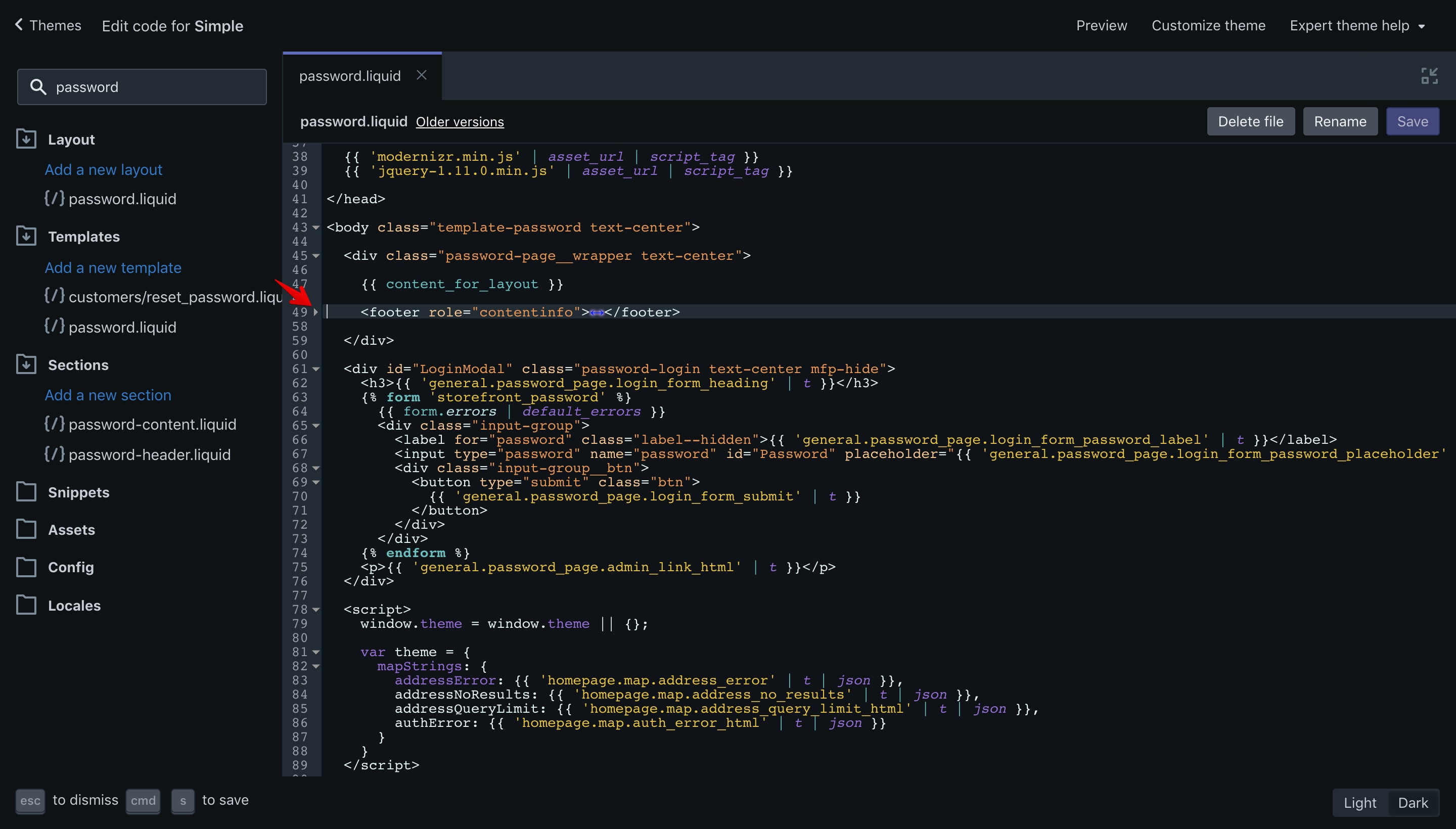 Simple theme copyright code selection in the code editor.