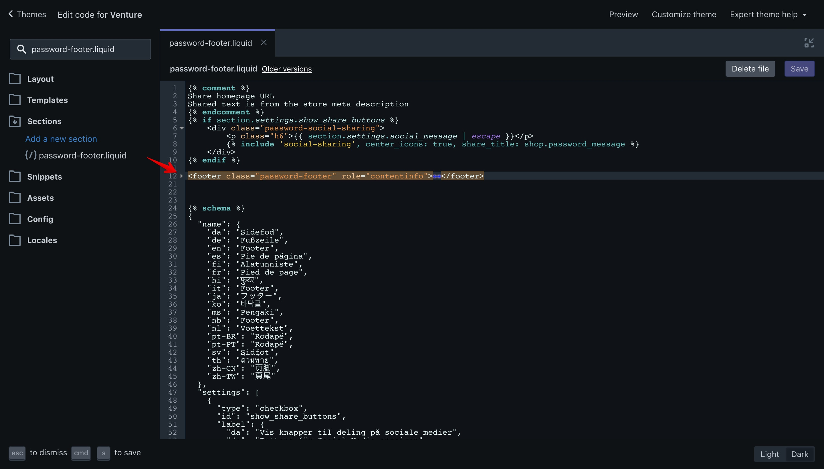 Venture theme copyright code selection in the code editor.