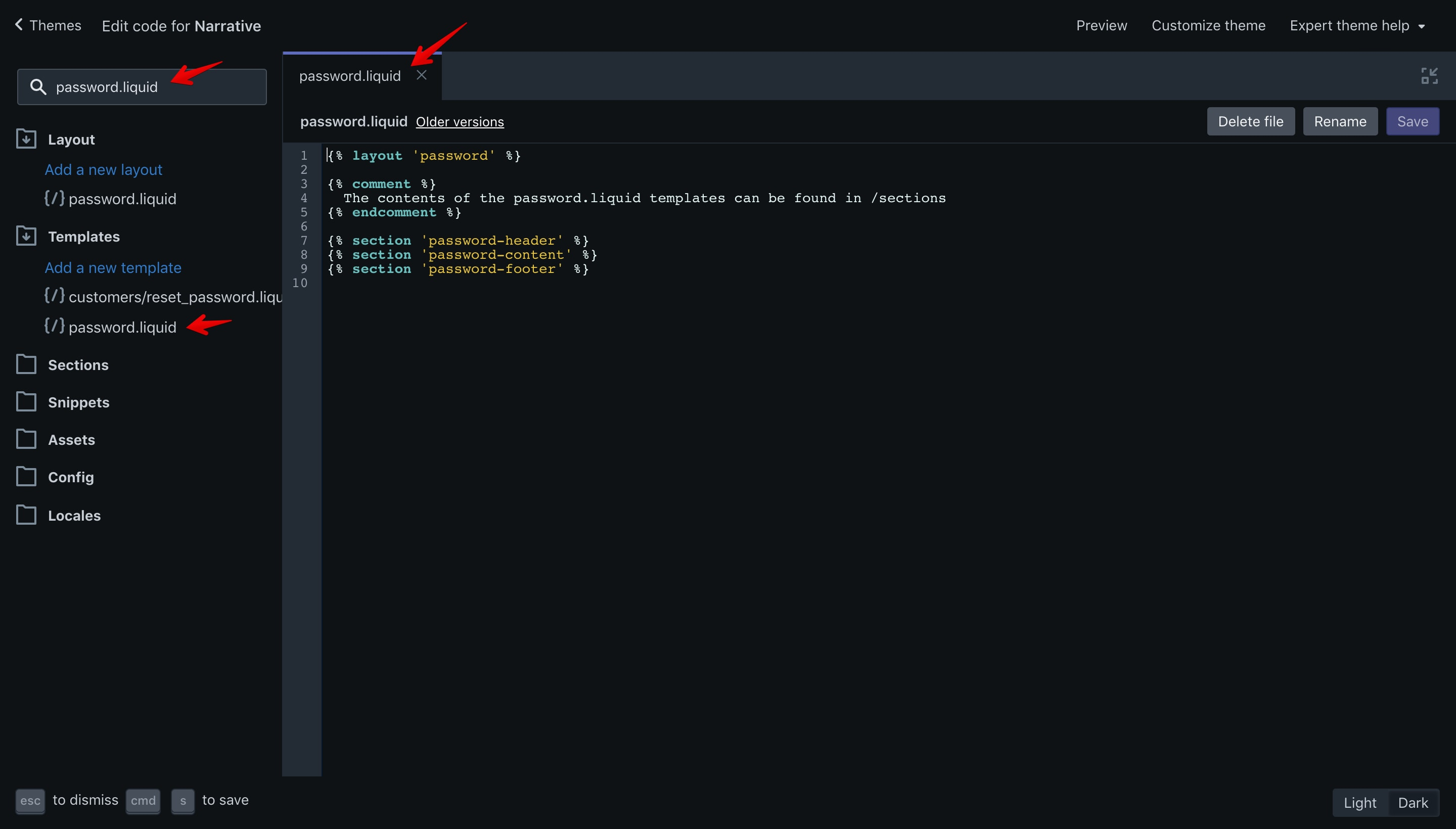 """Narrative theme """"password.liquid"""" file opened in the code editor."""