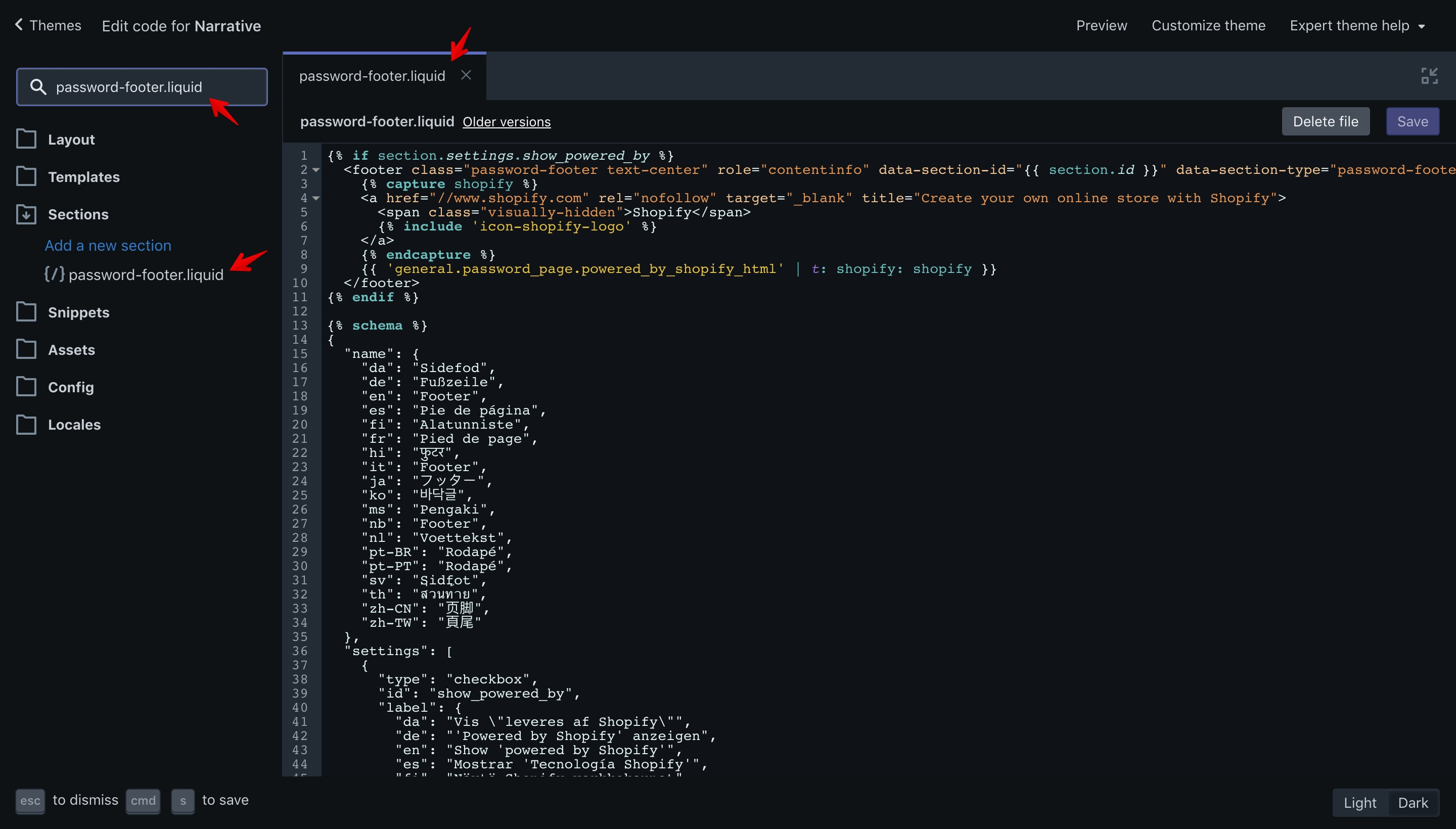 """Narrative theme """"password-footer.liquid"""" file opened in the code editor."""