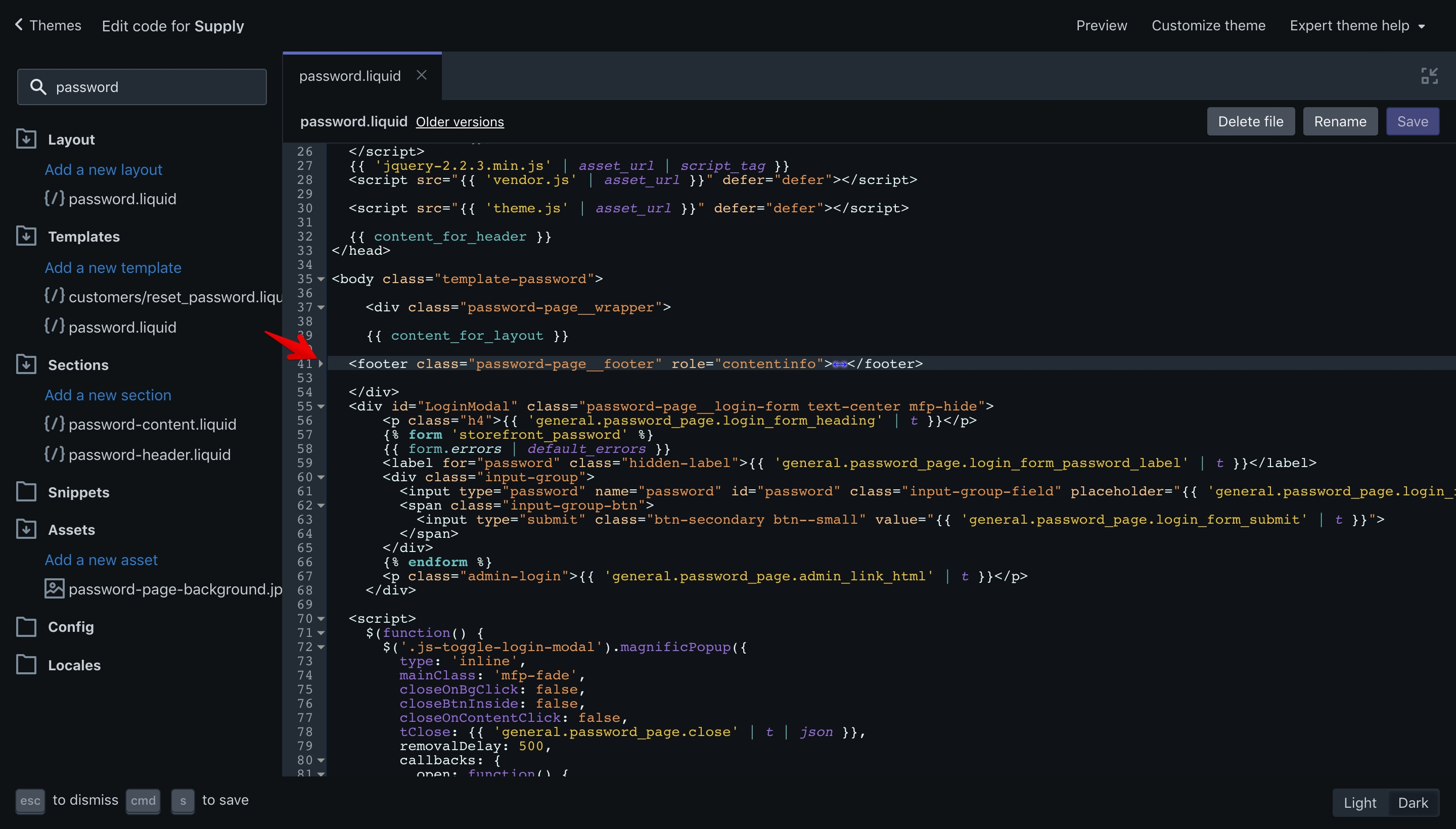 Supply theme copyright code selection in the code editor.