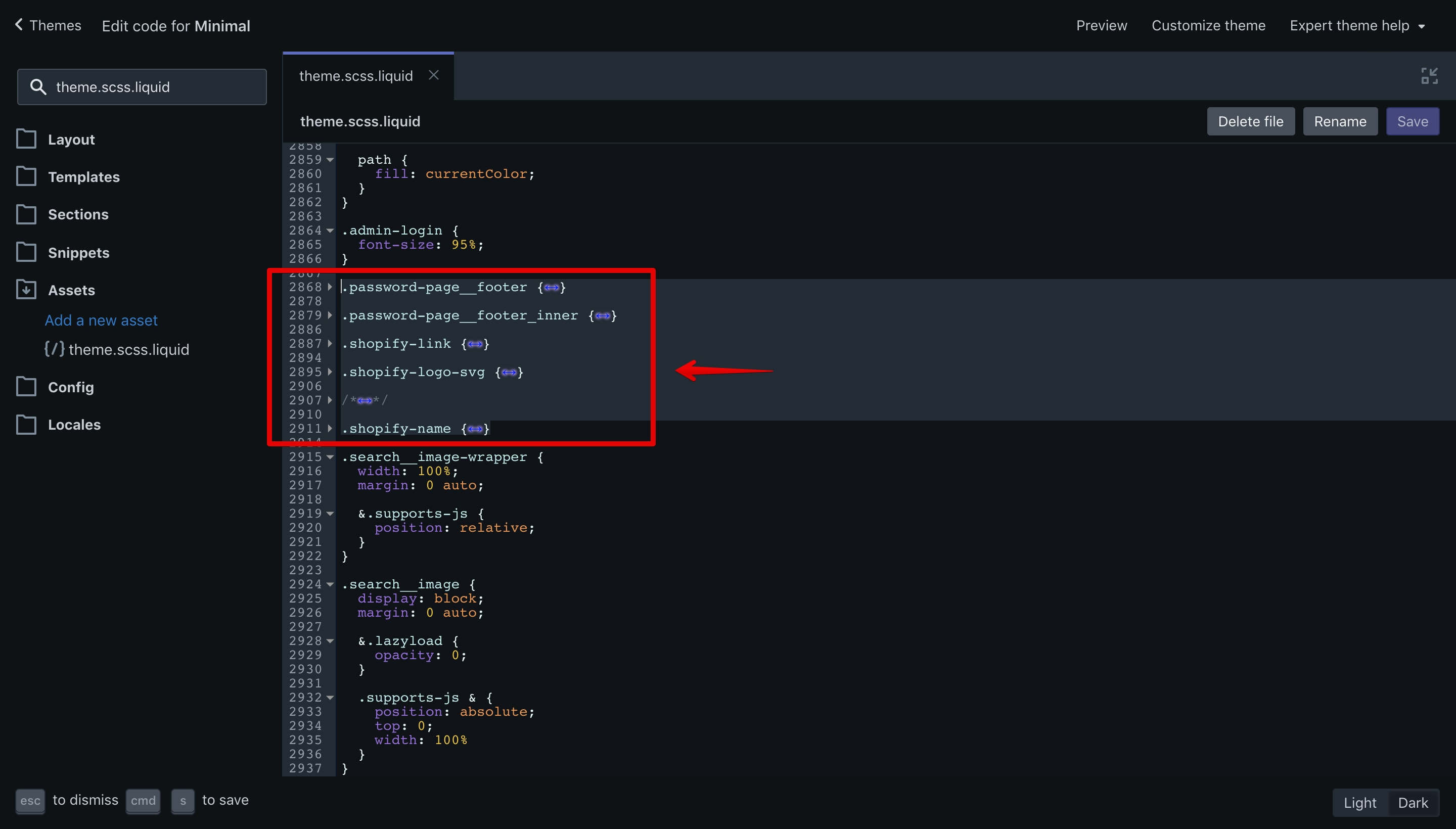 CSS code that has to be removed in the Minimal theme.