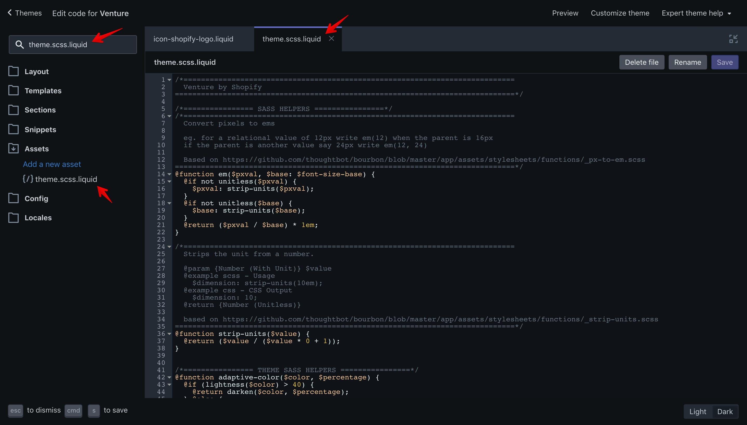 """Venture """"theme.scss.liquid"""" file. In this file are the theme styles."""