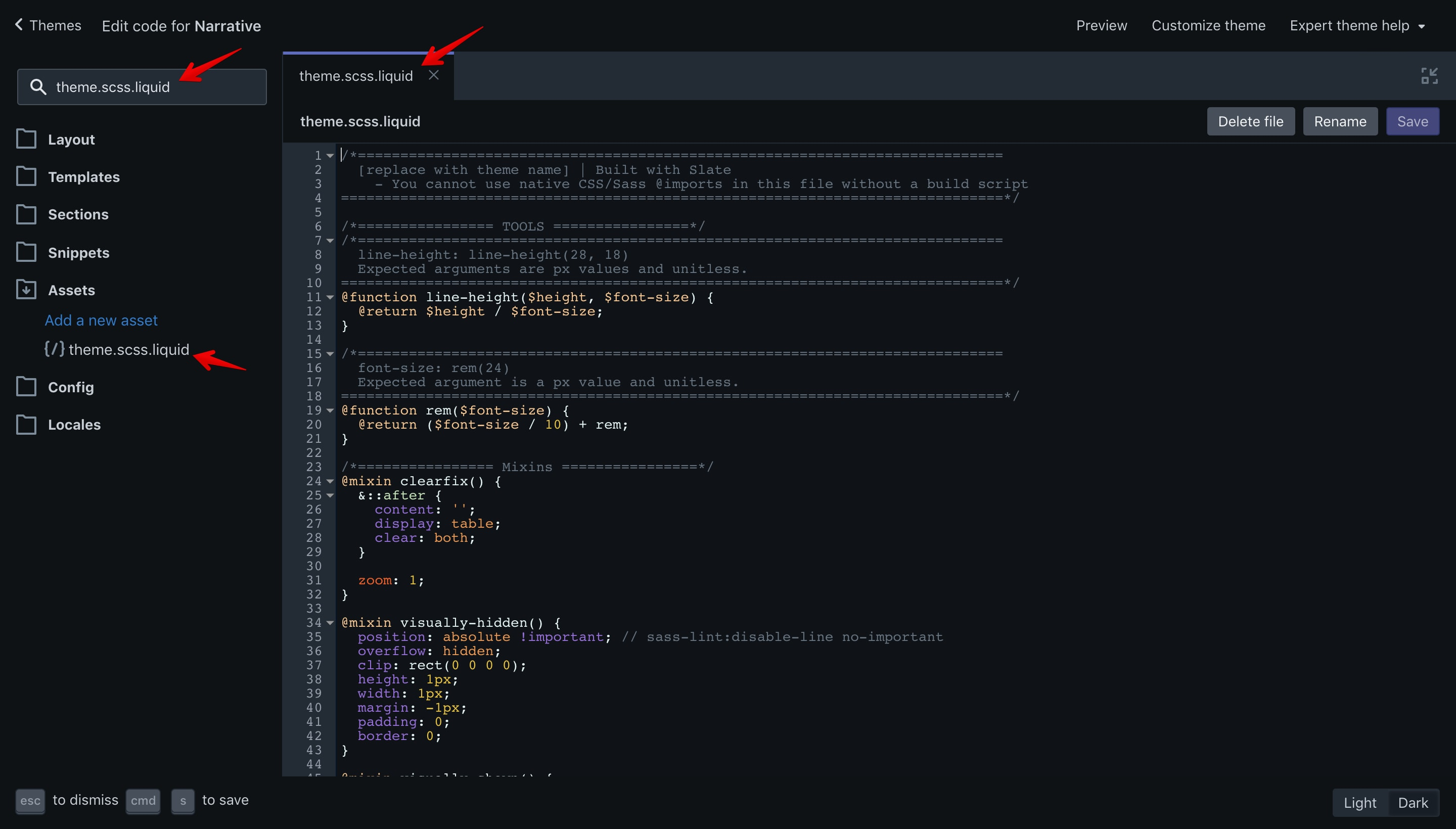 """Narrative """"theme.scss.liquid"""" file. In this file are the theme styles."""