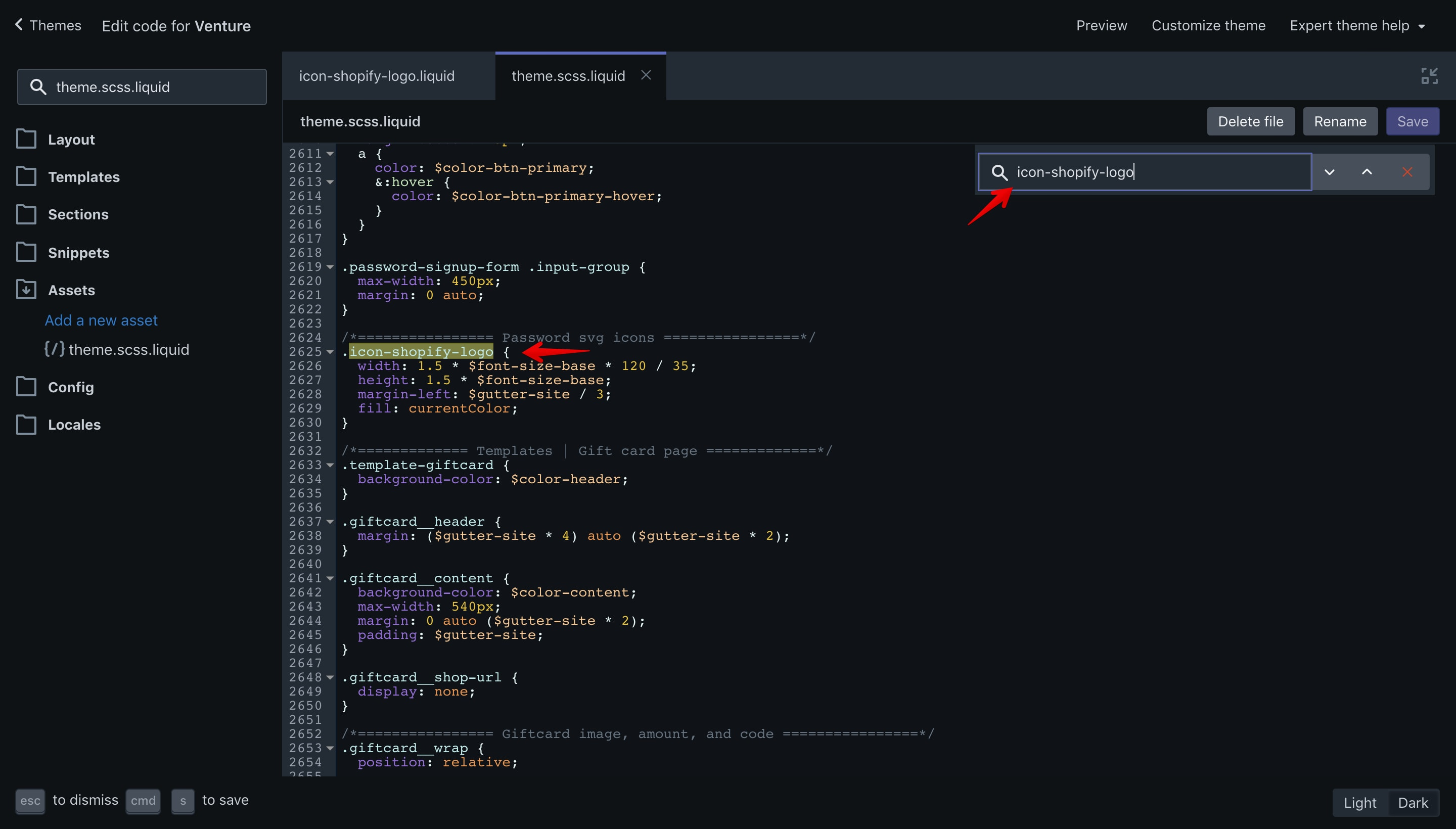 """Search for the """"icon-shopify-logo"""" CSS class in the code editor."""