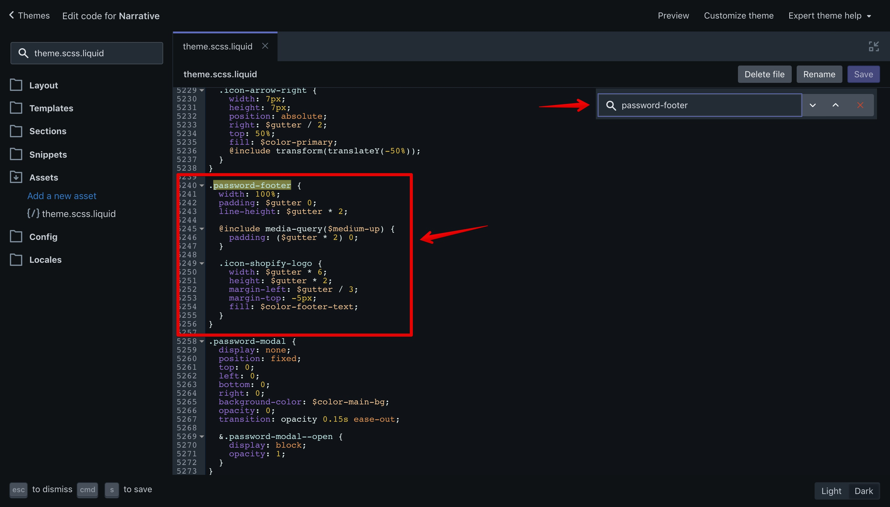 CSS code that needs to be removed in the Narrative theme.