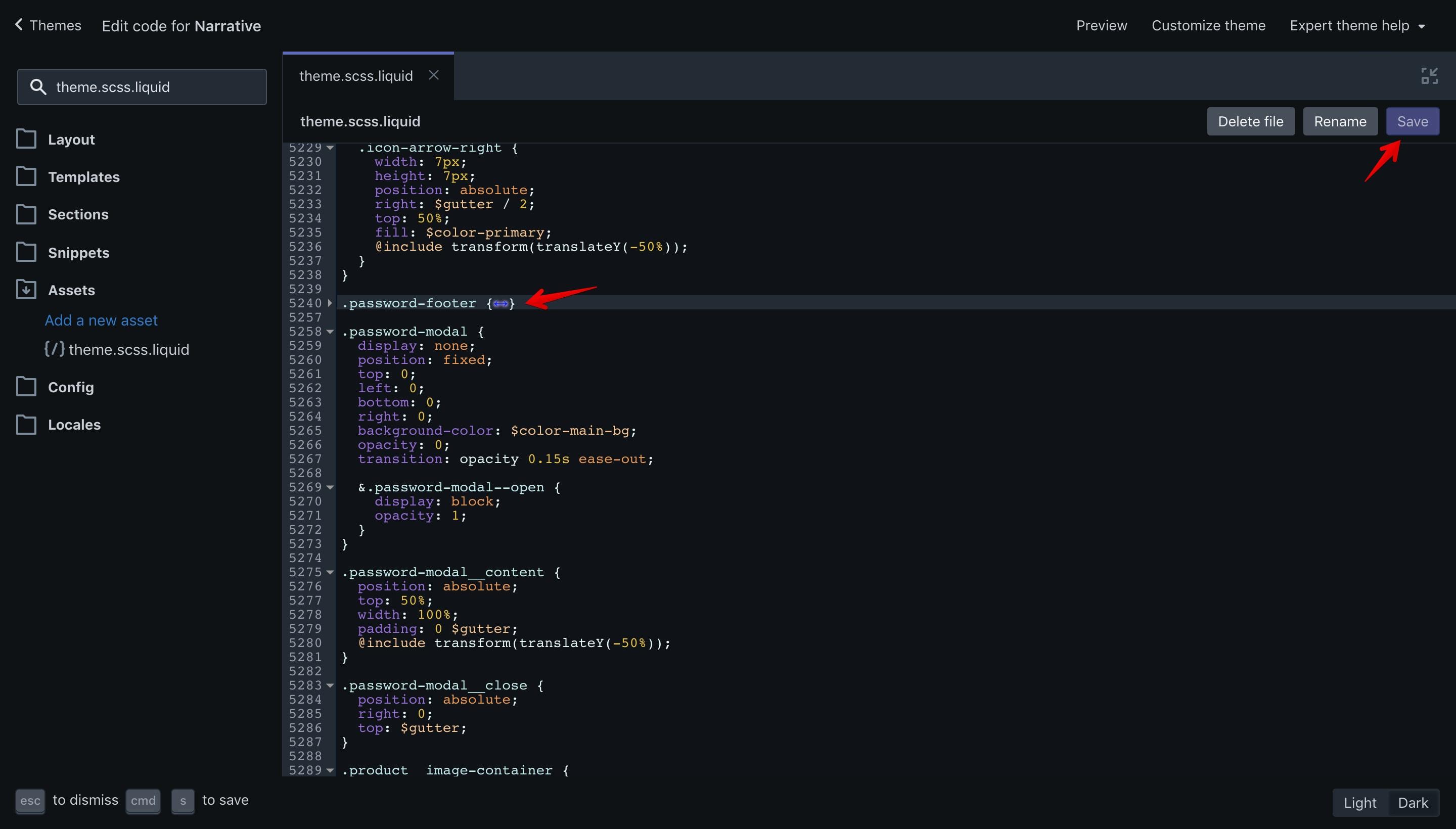 CSS code that has to be removed in the Narrative theme.