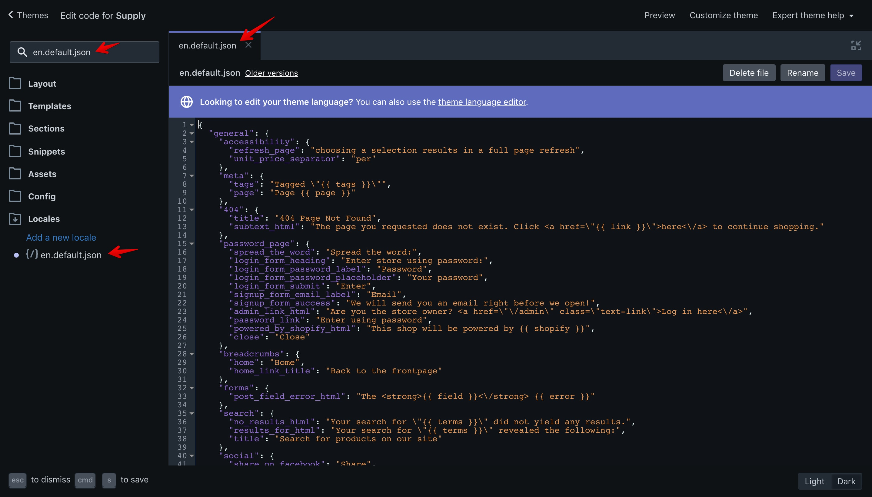 """Supply theme """"en.default.json"""" file opened in the code editor."""