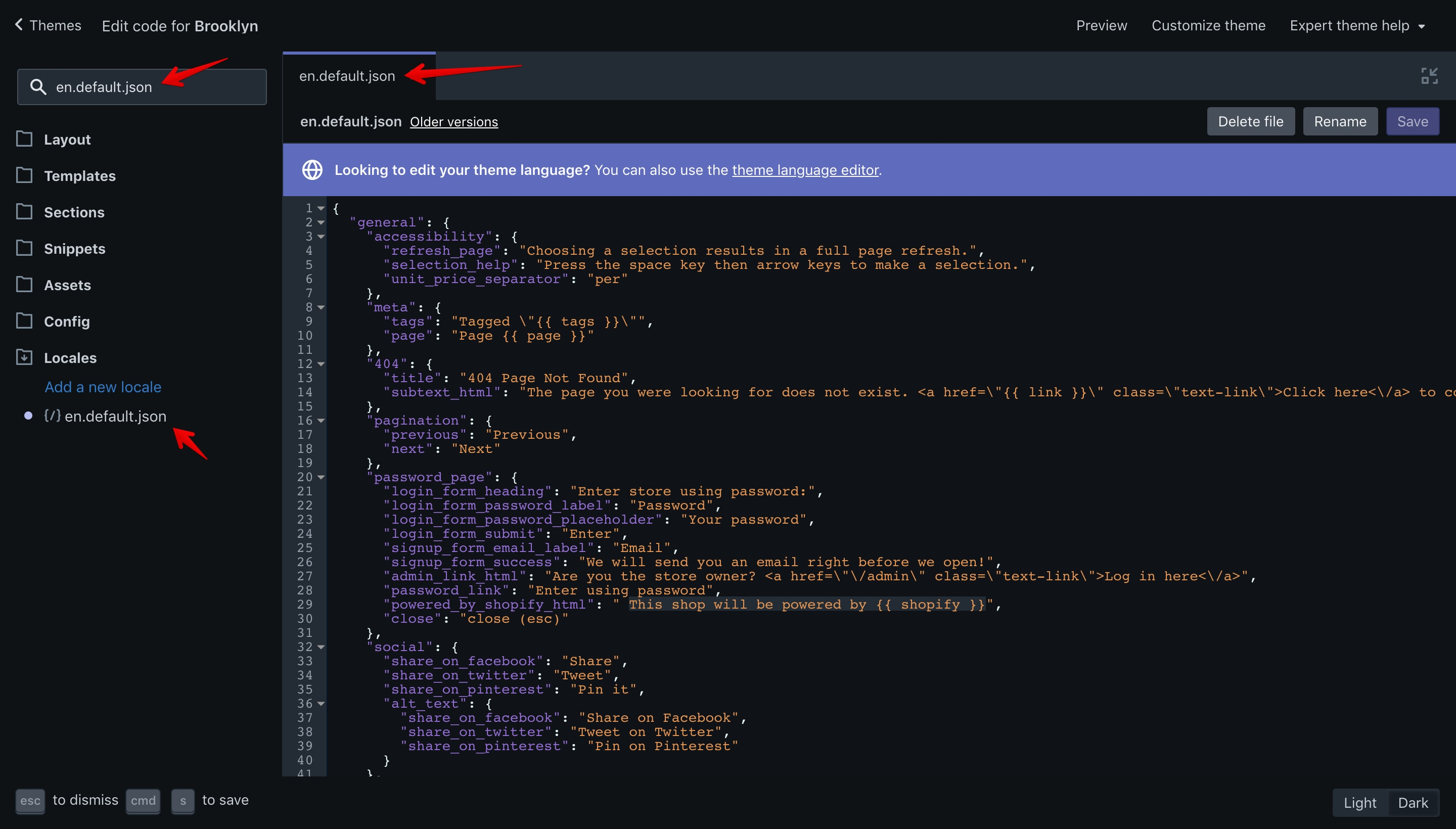 """Brooklyn theme """"en.default.json"""" file opened in the code editor."""