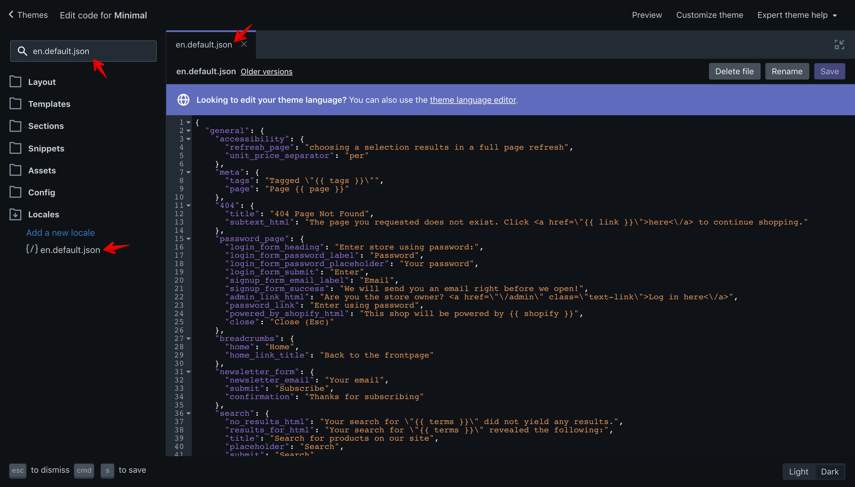 """Minimal theme """"en.default.json"""" file opened in the code editor."""