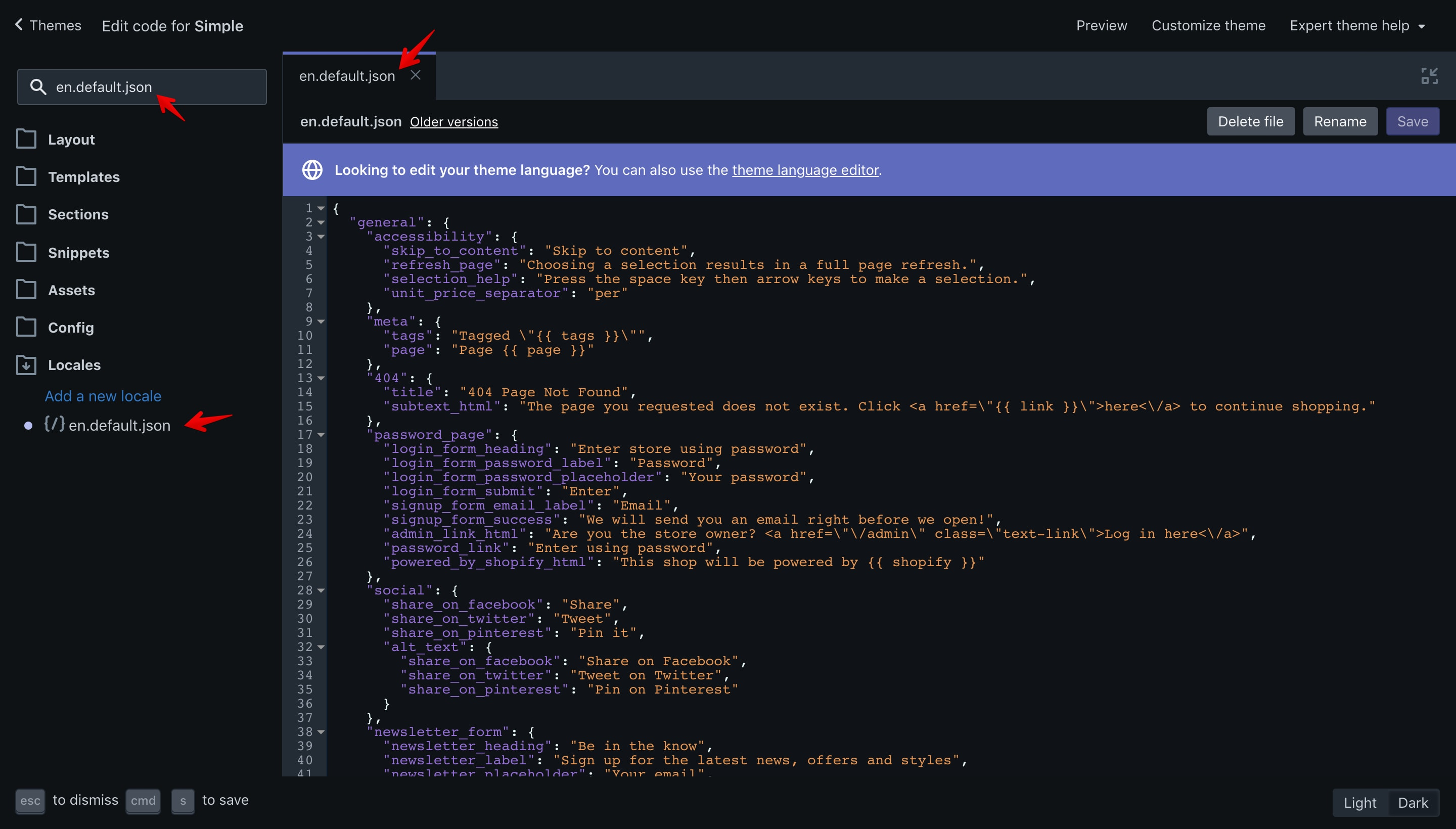 """Simple theme """"en.default.json"""" file opened in the code editor."""
